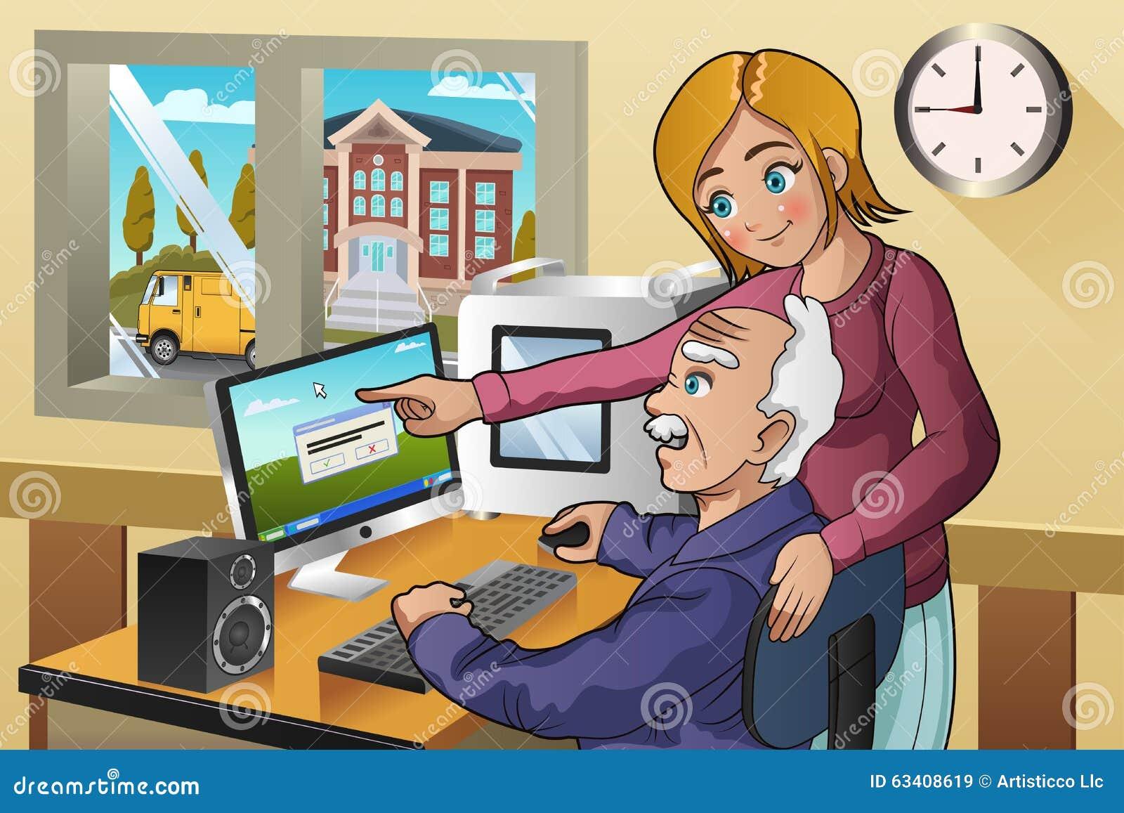 Dziewczyny nauczania senior dlaczego używać komputer
