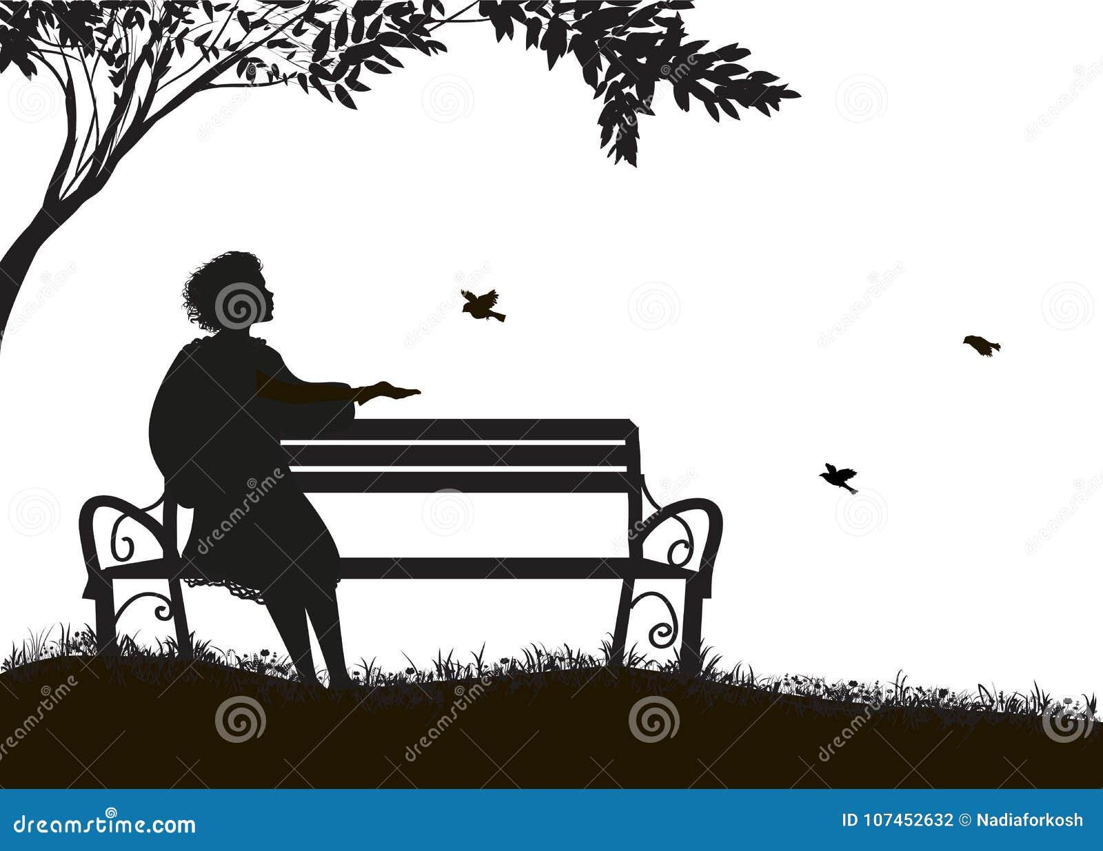 Dziewczyny obsiadanie na ławce pod drzewa i karmy wróblami, cienie, sylwetka na białym tle