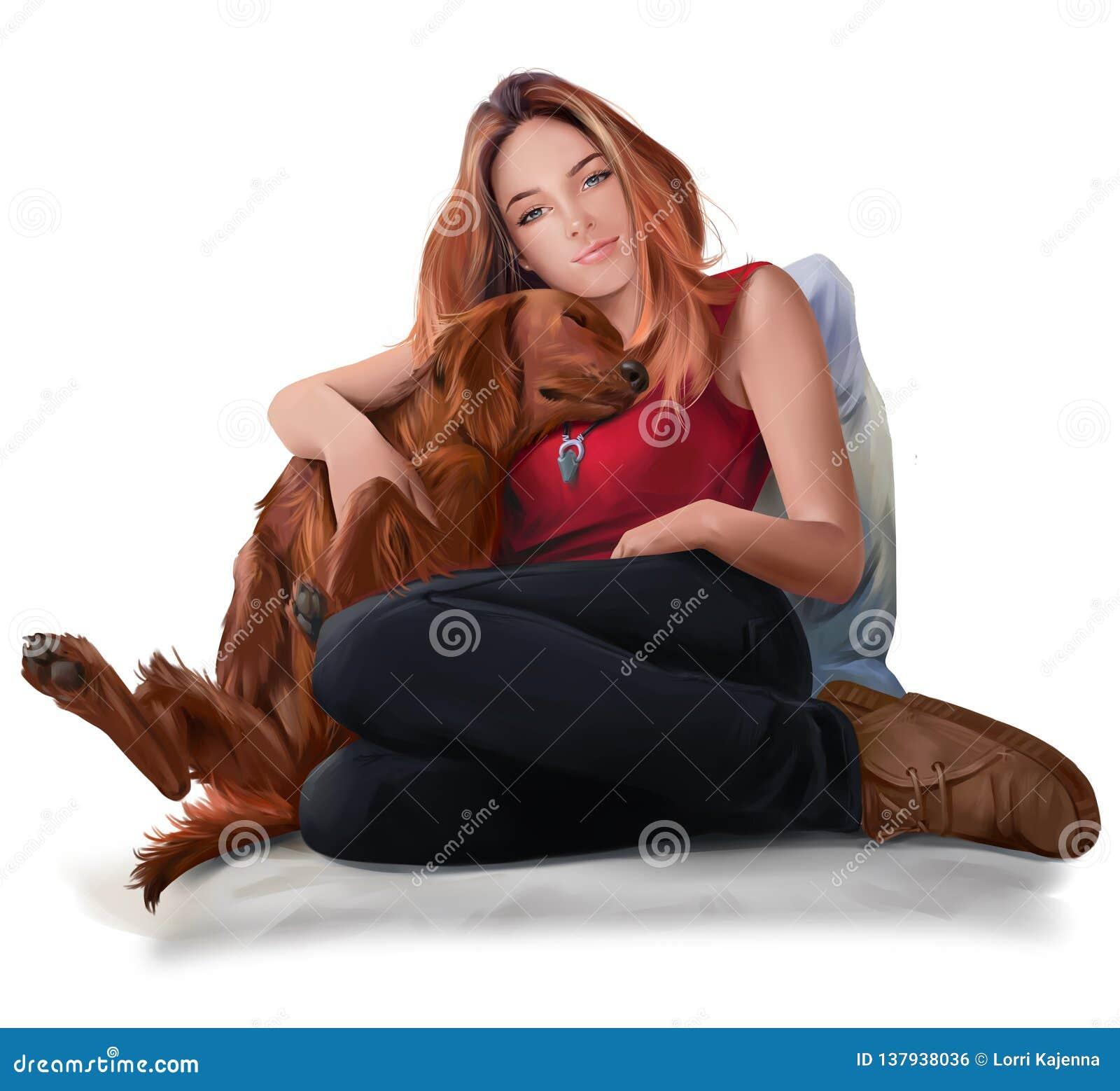 Dziewczyny obsiadanie z czerwonym psem adobe korekcj wysokiego obrazu photoshop ilości obraz cyfrowy prawdziwa akwarela