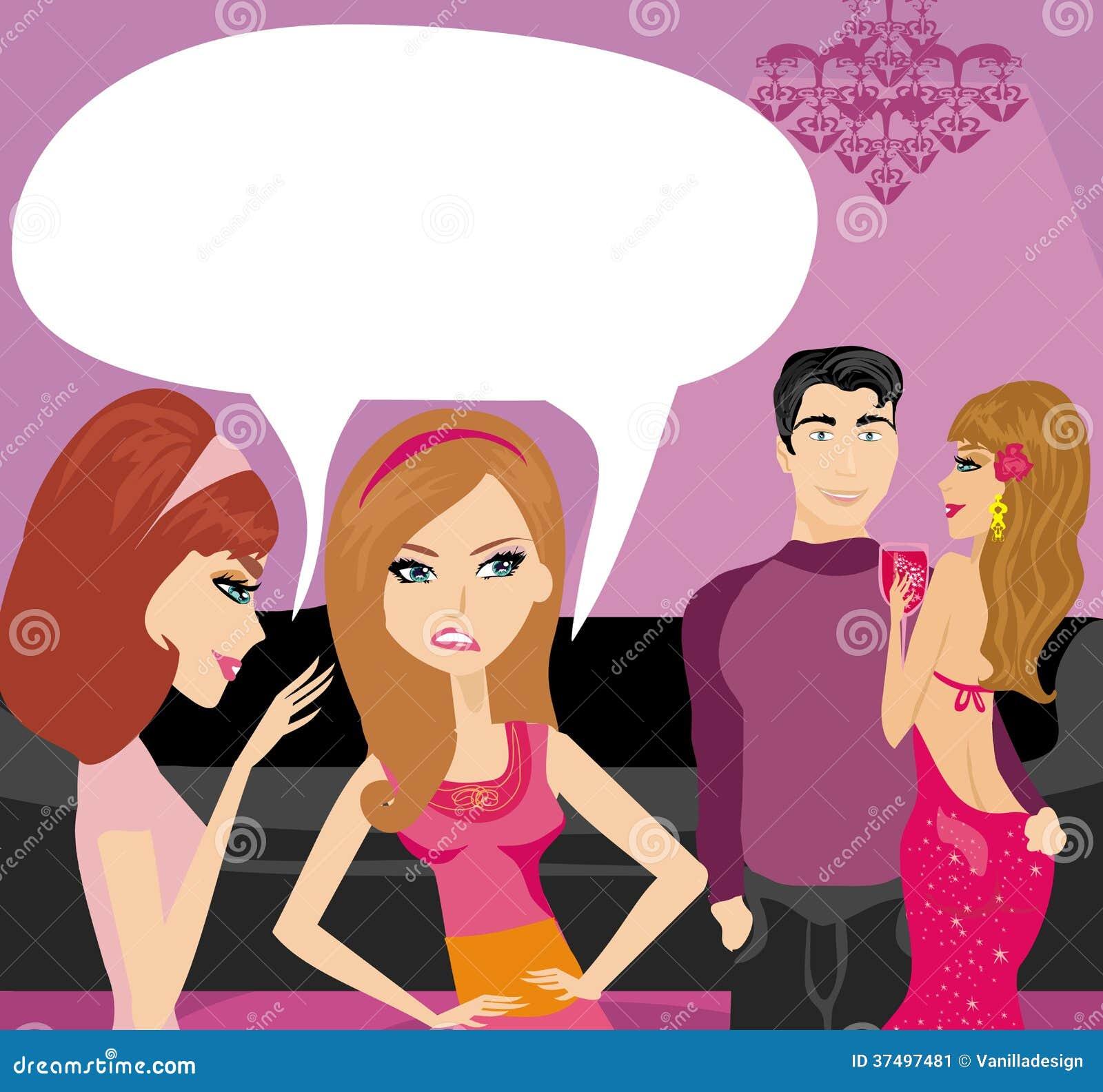 Dziewczyny plotkuje o parze kochankowie