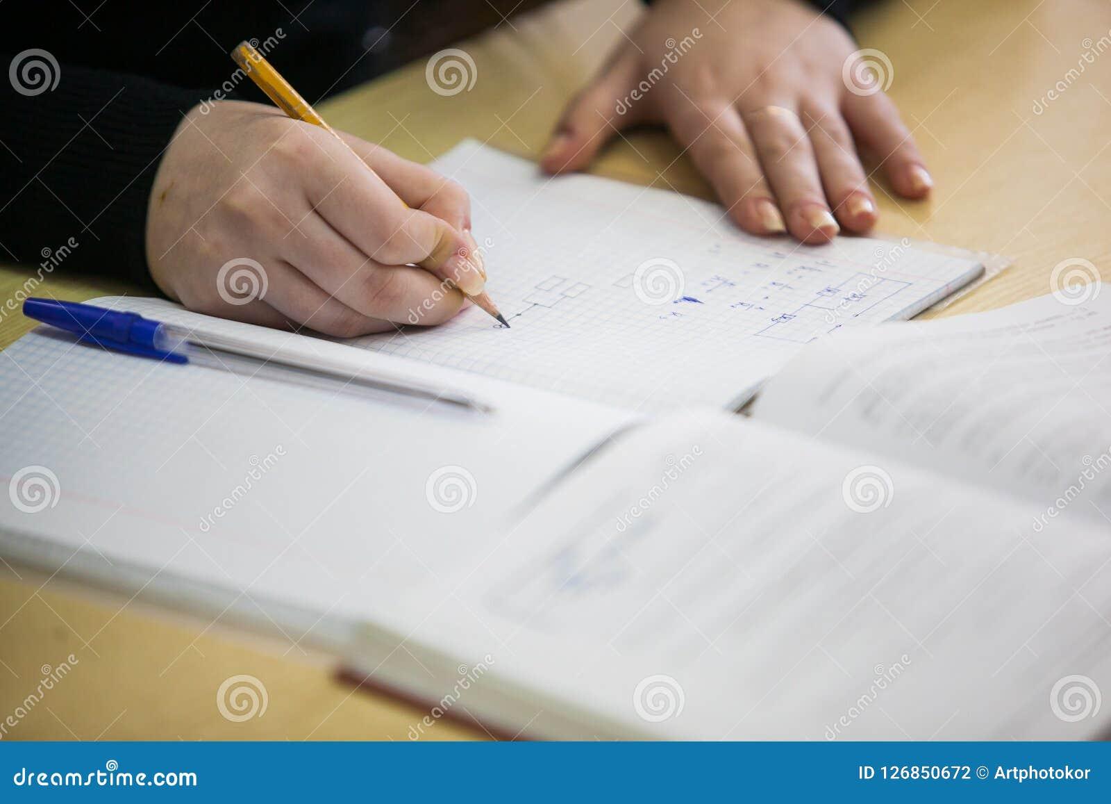 Dziewczyny ręka pisze puszkowi nowej informaci w ćwiczenie książce