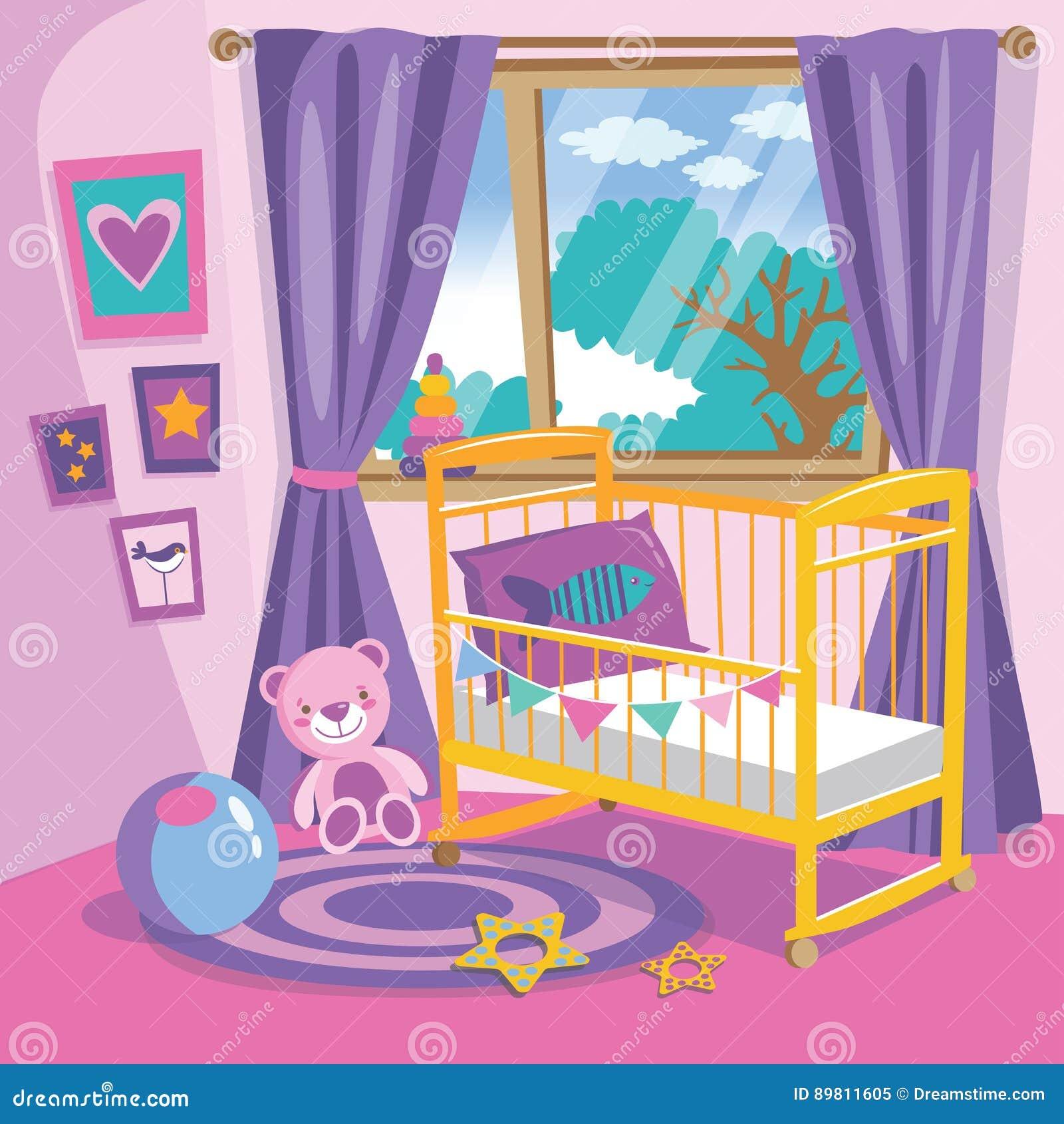 Dziewczyny sypialni wnętrze Mieszkanie kreskówki wektoru stylowa ilustracja Dziecko pokój w menchiach Dziecko pokój z meble Pepin