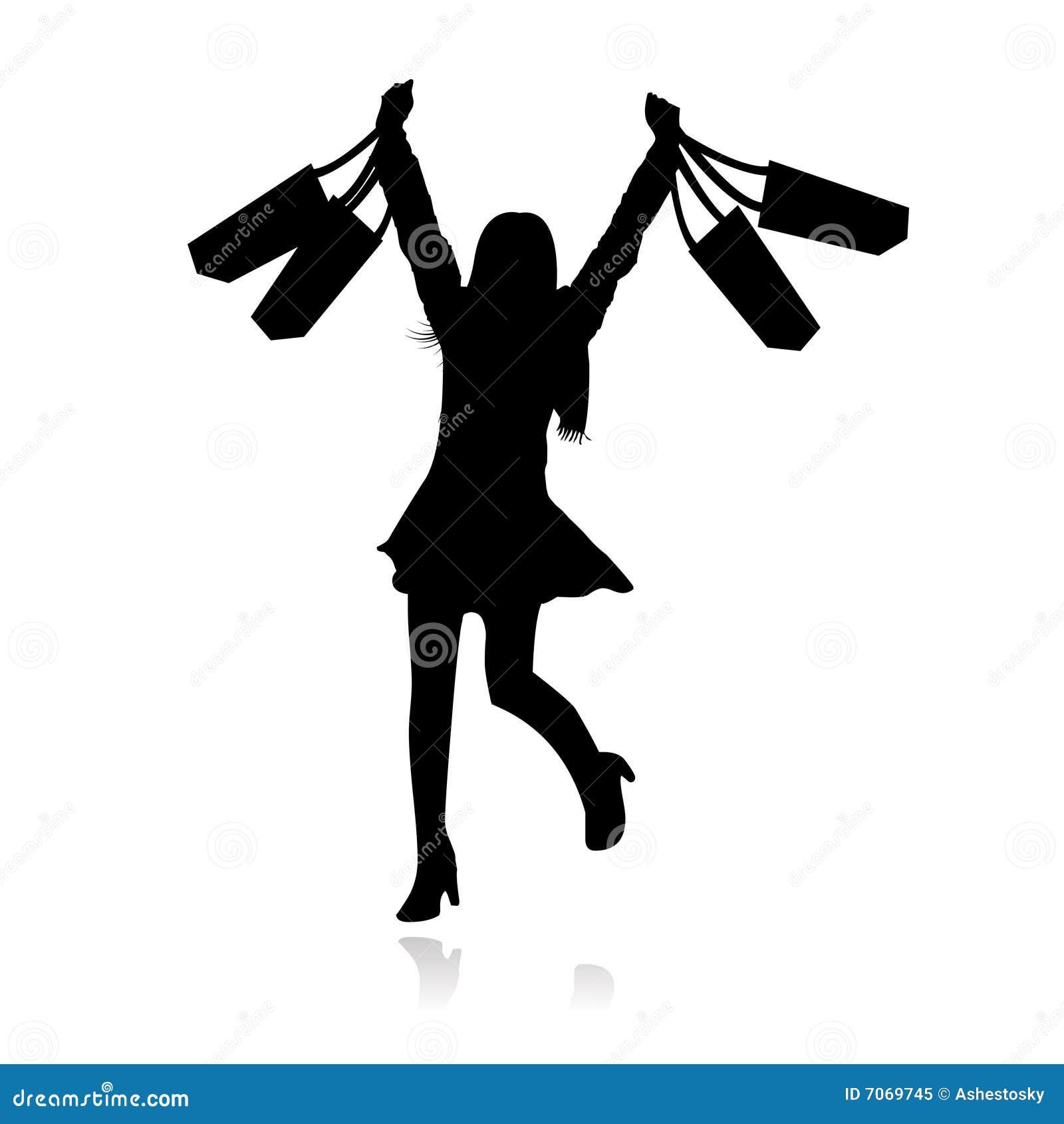Dziewczyny szczęśliwy zakupy wektor
