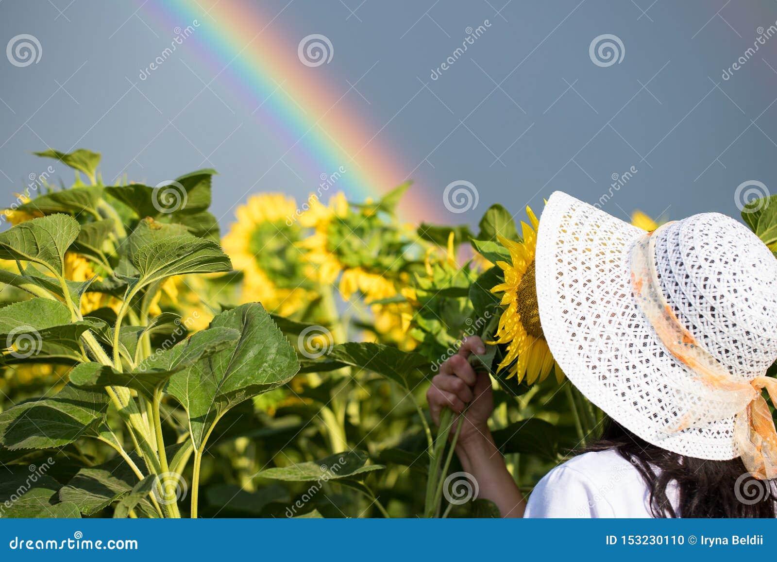 Dziewczyny tęczy kwiaty dziewczyna w śródpolnym mieniu bukiet słoneczniki