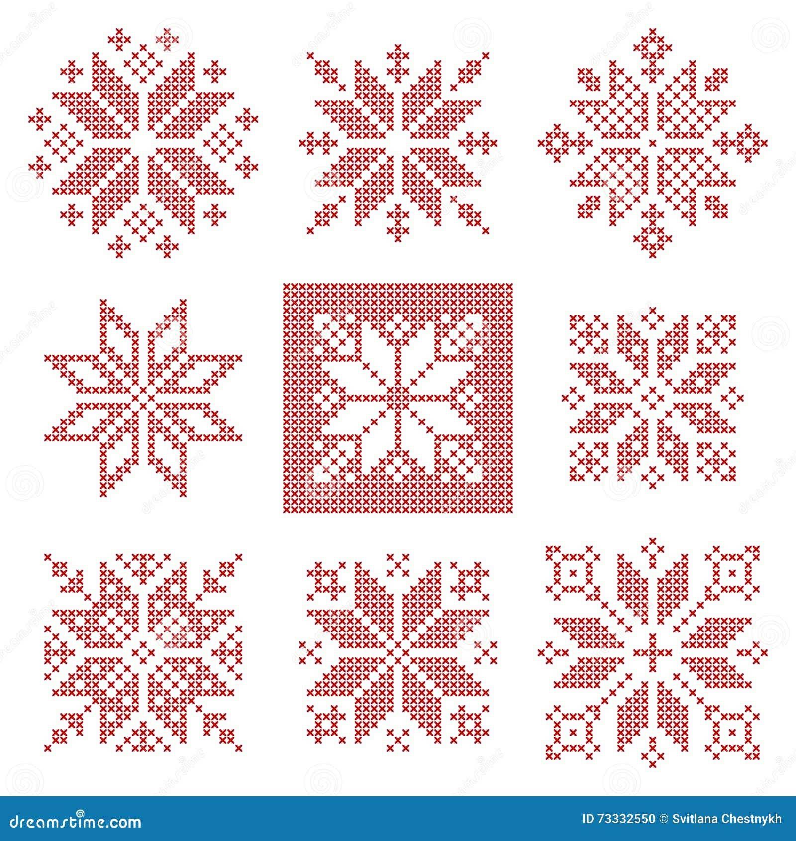 Dziewięć ściegów płatków śniegu przecinający wzór, skandynawa styl