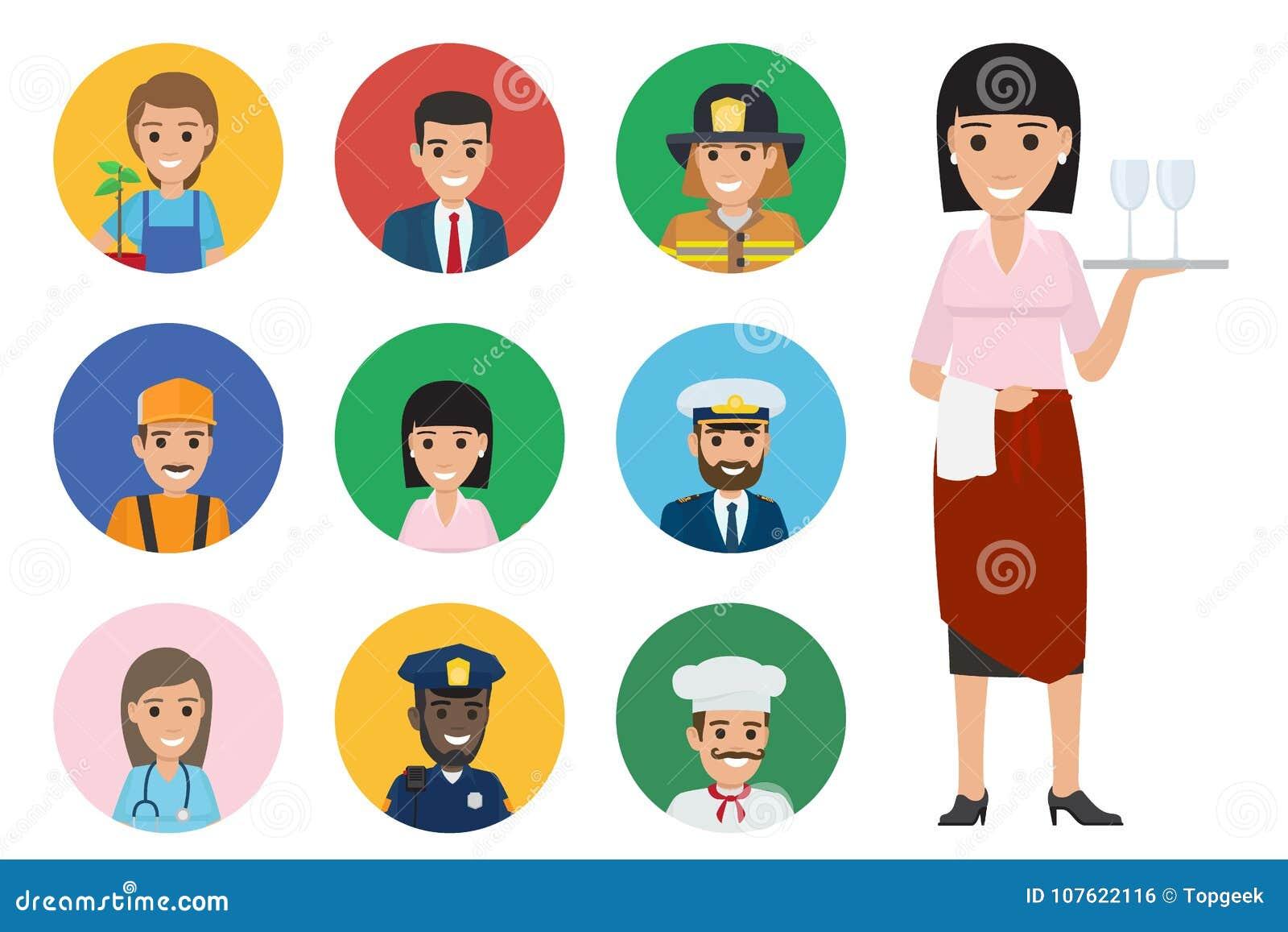 Dziewięć Round ikon Handlują i Długi kelner