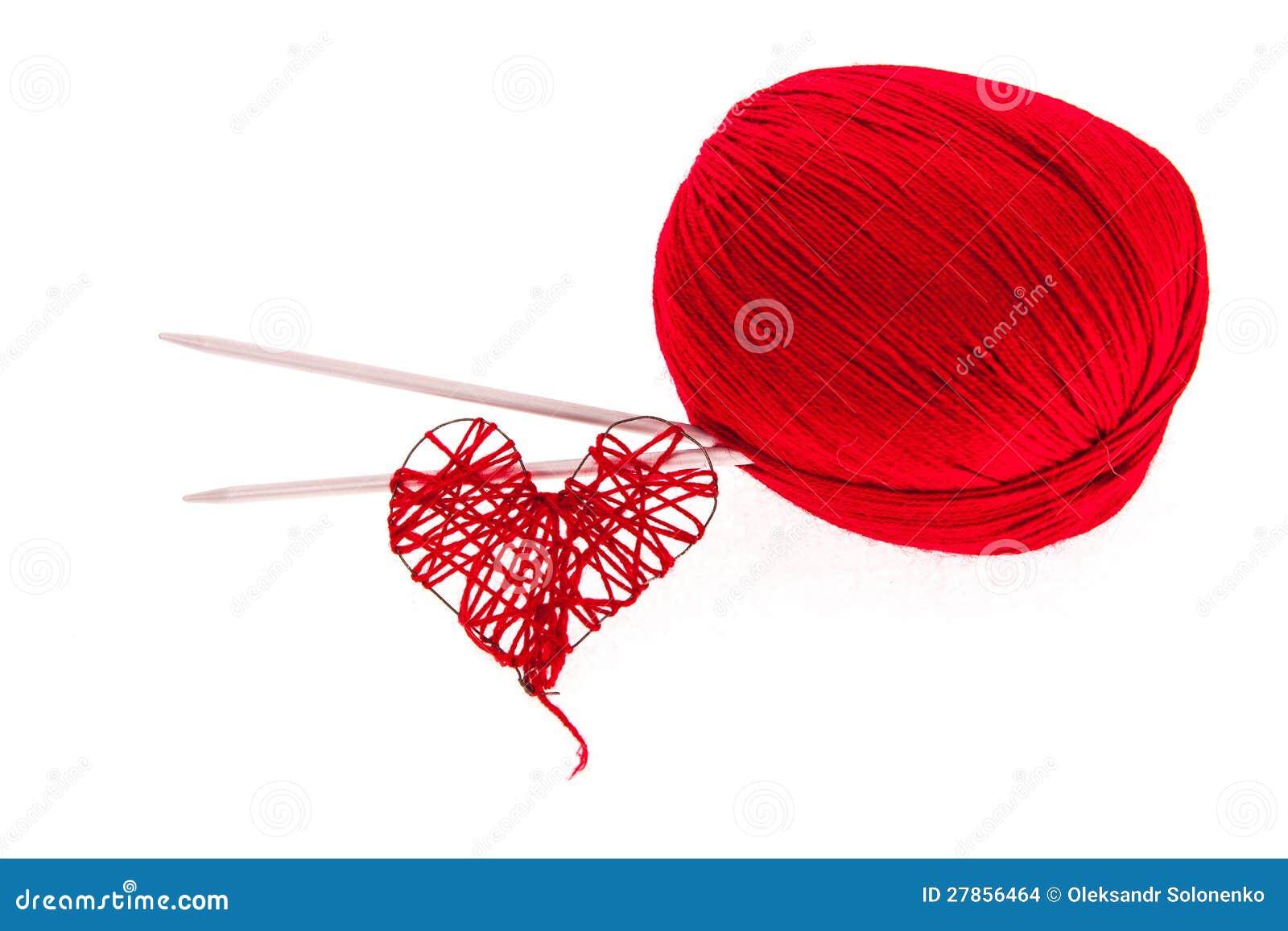 Dziewiarska przędza z igłami i sercem