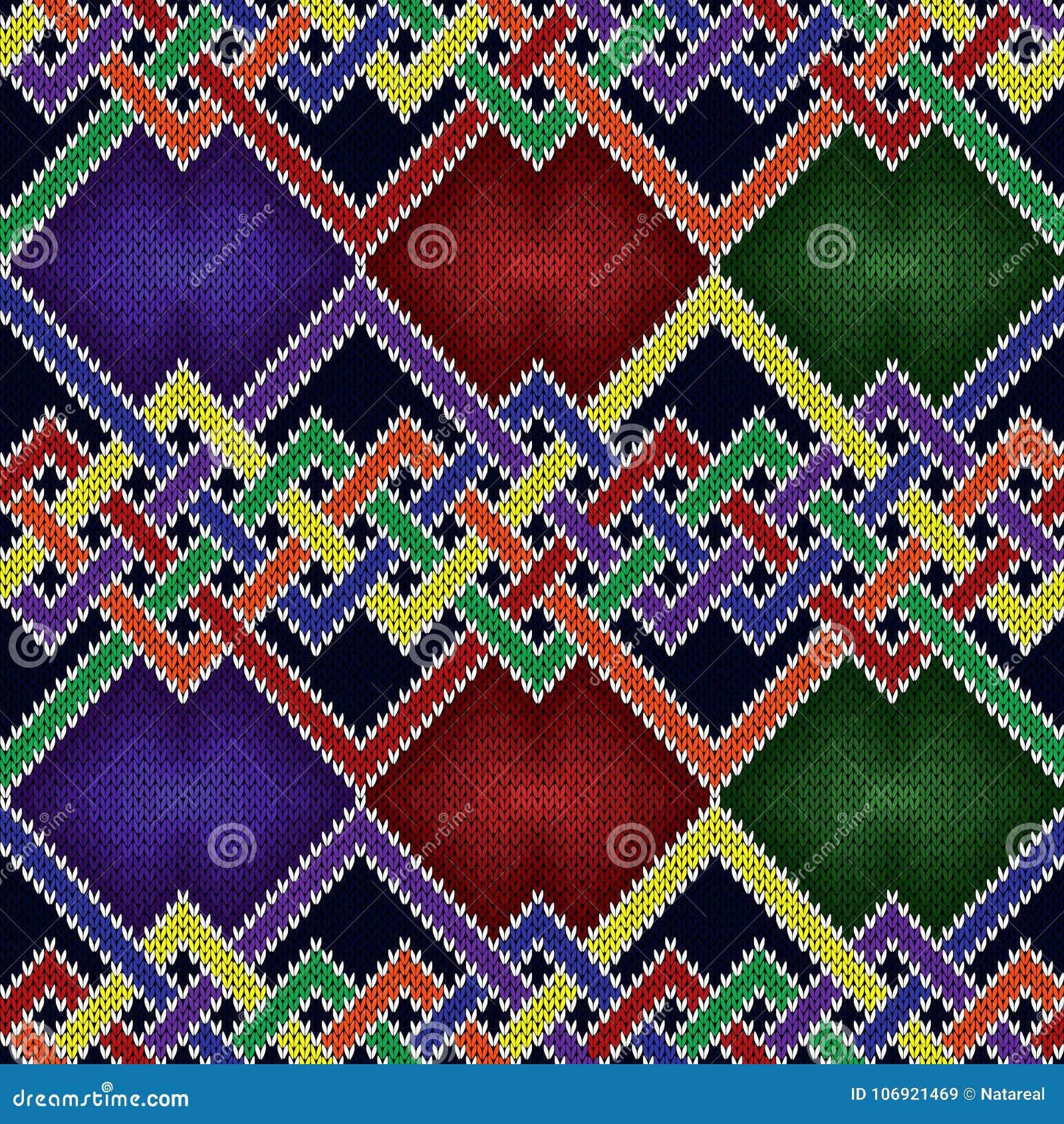 Dziewiarski bezszwowy multicolor wzór