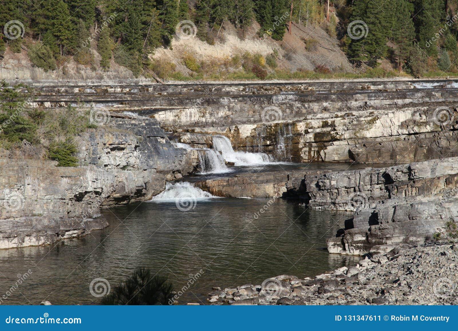 Dzika Kootenai rzeki gałąź skała w Północno-zachodni Montana