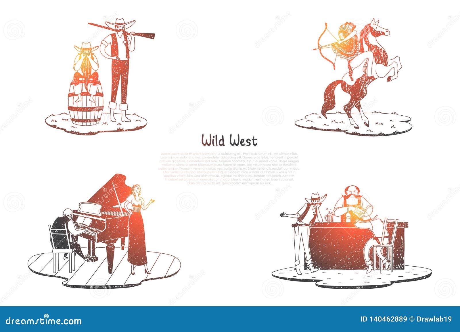 Dziki zachód - indianin z łucznictwem na koniu, myśliwym z pistoletem, barze z napojami i tawernie z muzyka pojęcia wektorowym se