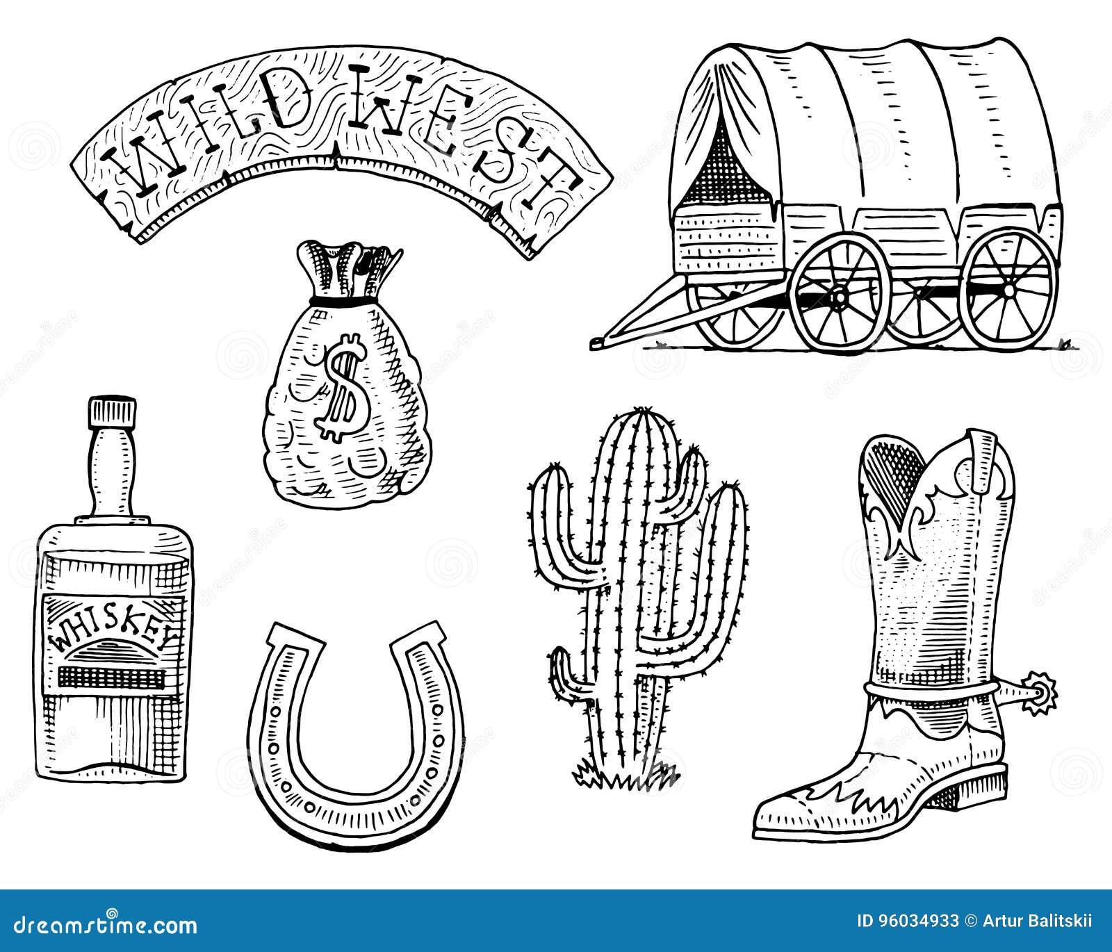 Dziki zachód, rodeo przedstawienie, szeryf, kowboj lub hindusi, fura i drewniany signboard, pieniądze torba, but z podkową, whisk