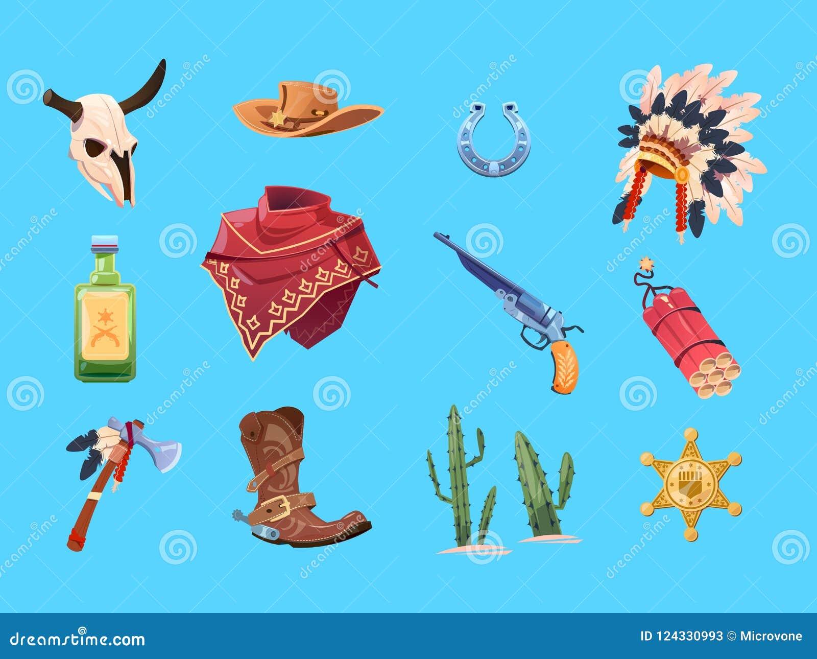 Dziki zachodni kreskówka set Kowbojscy buty, kapelusz i pistolet, Byk czaszka, indyjska wojenna czapeczka i tomahawk, Odosobniona