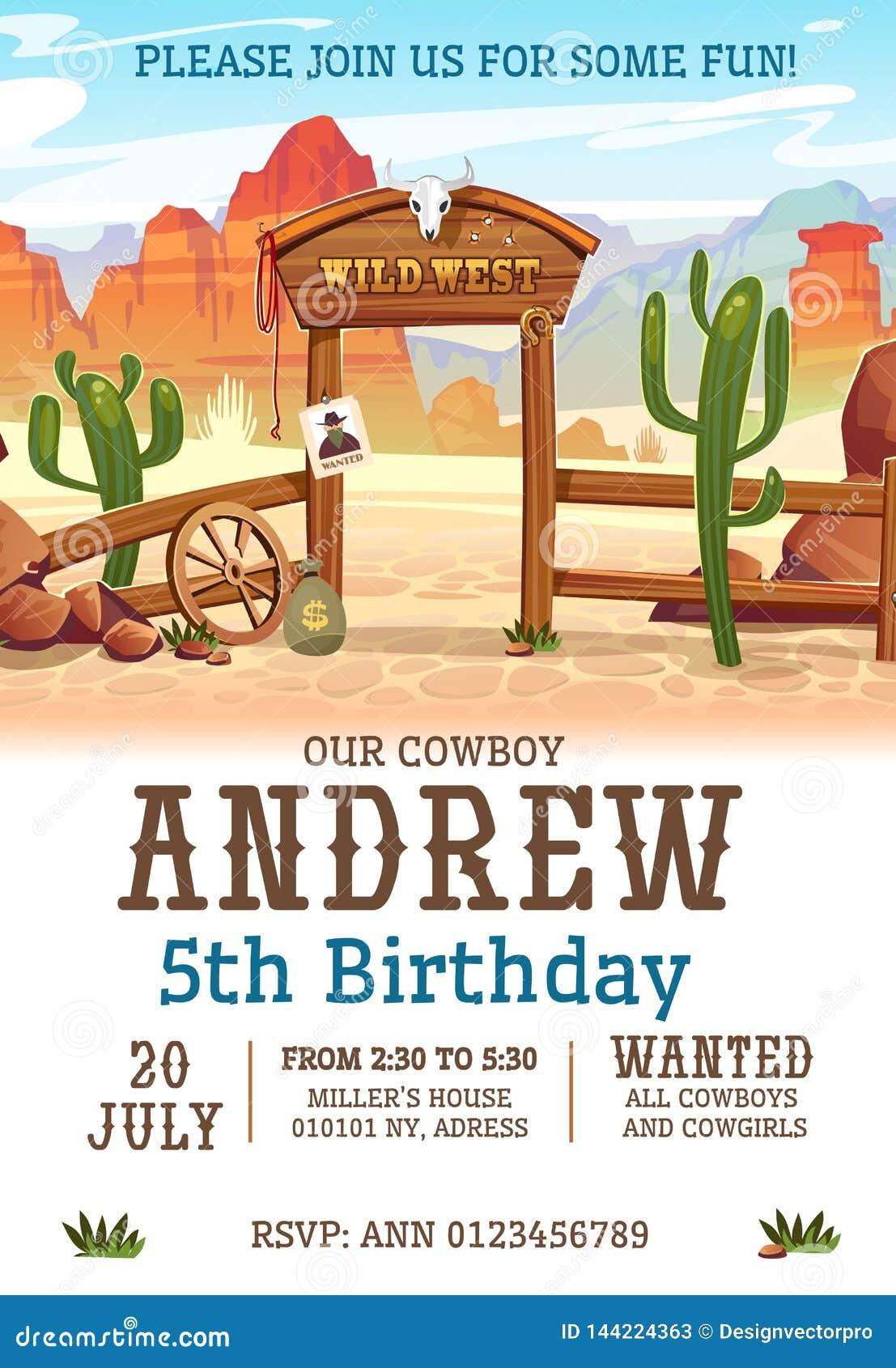 Dziki zachodni przyjęcia urodzinowego zaproszenia projekta szablon Zachodni plakatowy pojęcie dla zaproszeń, kartek z pozdrowi