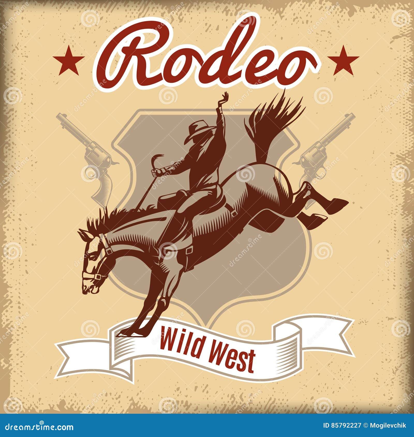 Dziki Zachodni rodeo szablon