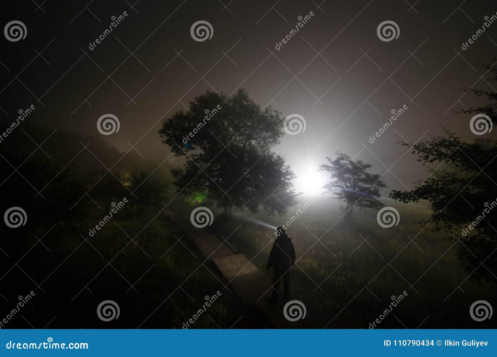 Dziwaczna sylwetka w ciemnym strasznym lesie przy nocą, mistyczni krajobrazowi surrealistyczni światła z przerażającym mężczyzna