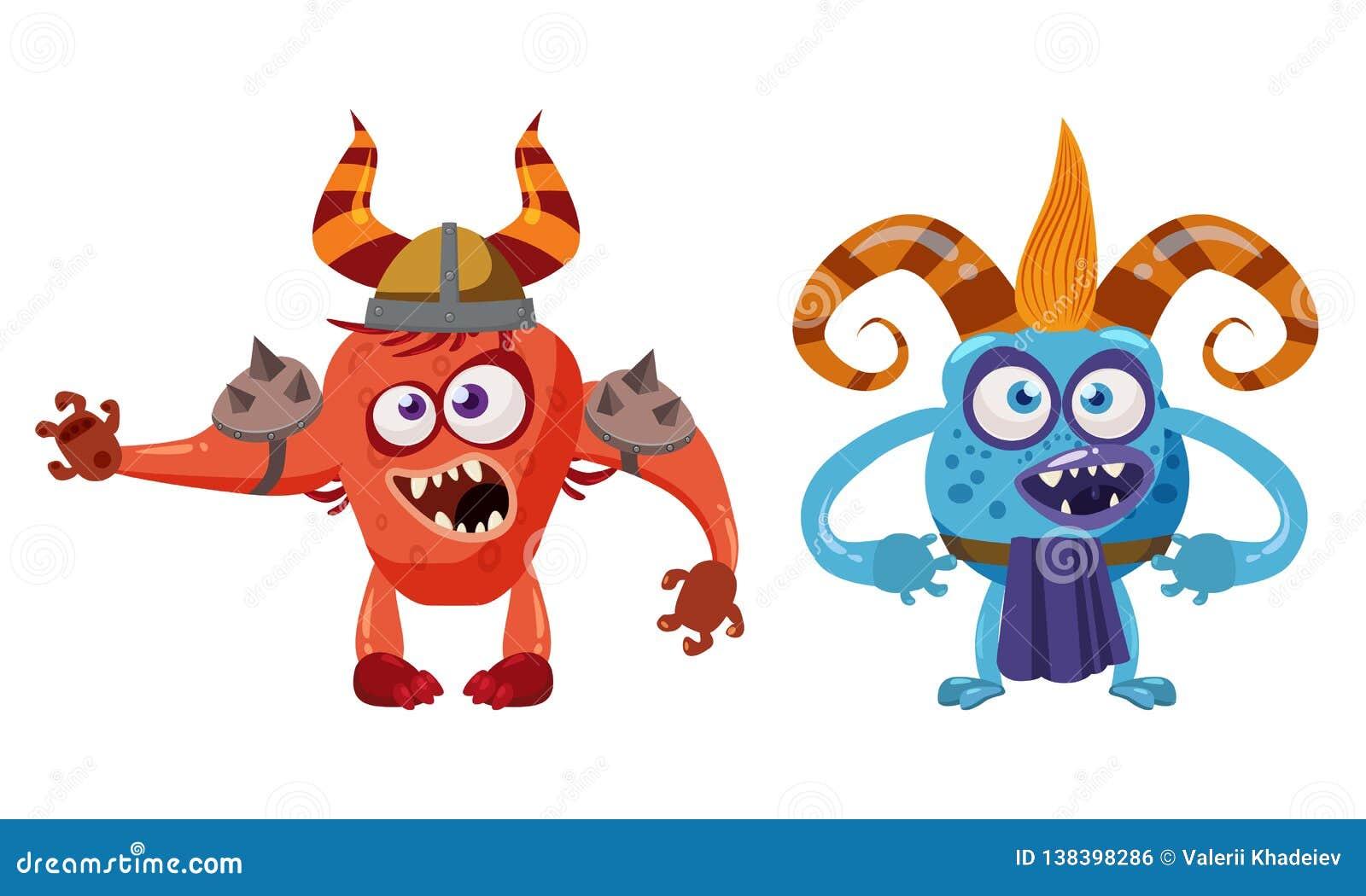 Dziwożony błyszczki anf bajki Czarci śliczny śmieszny charakter, emocje, kreskówka styl dla książek, reklama, majchery, wektor