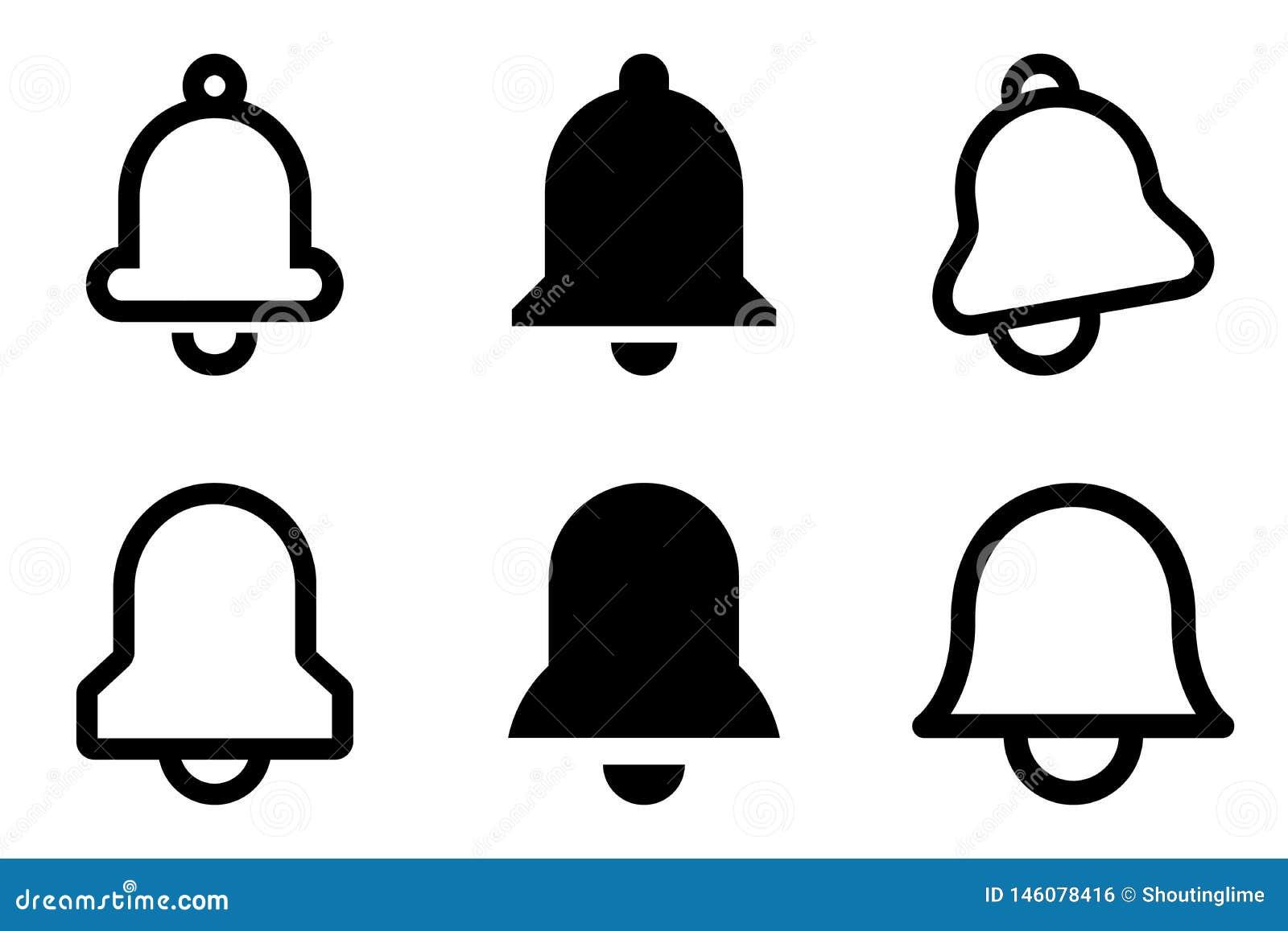 Dzwon ikona ustawiająca sześć jednostek bw