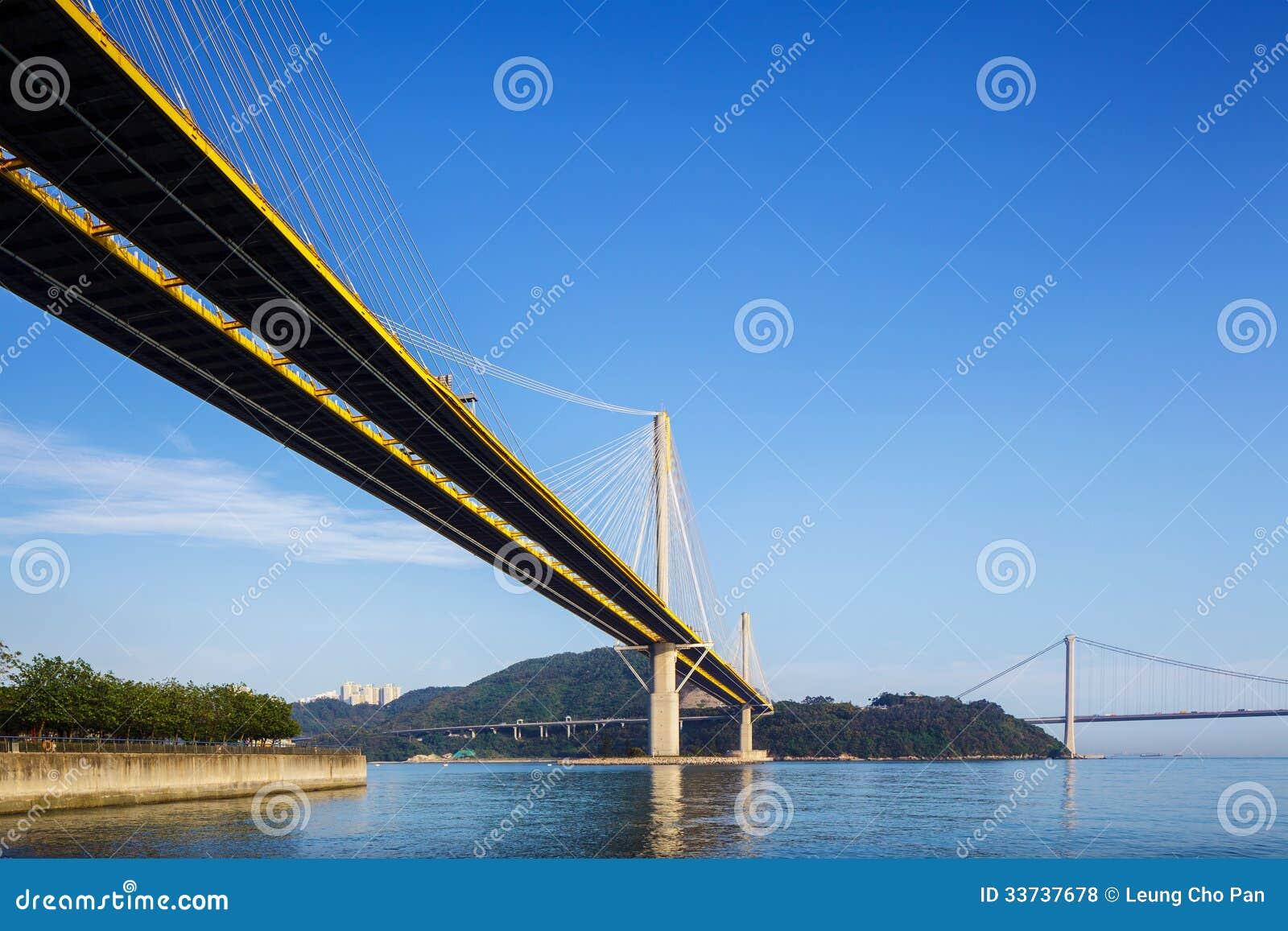 Dzwoni Kau i Tsing Ma zawieszenie most w Hong Kong