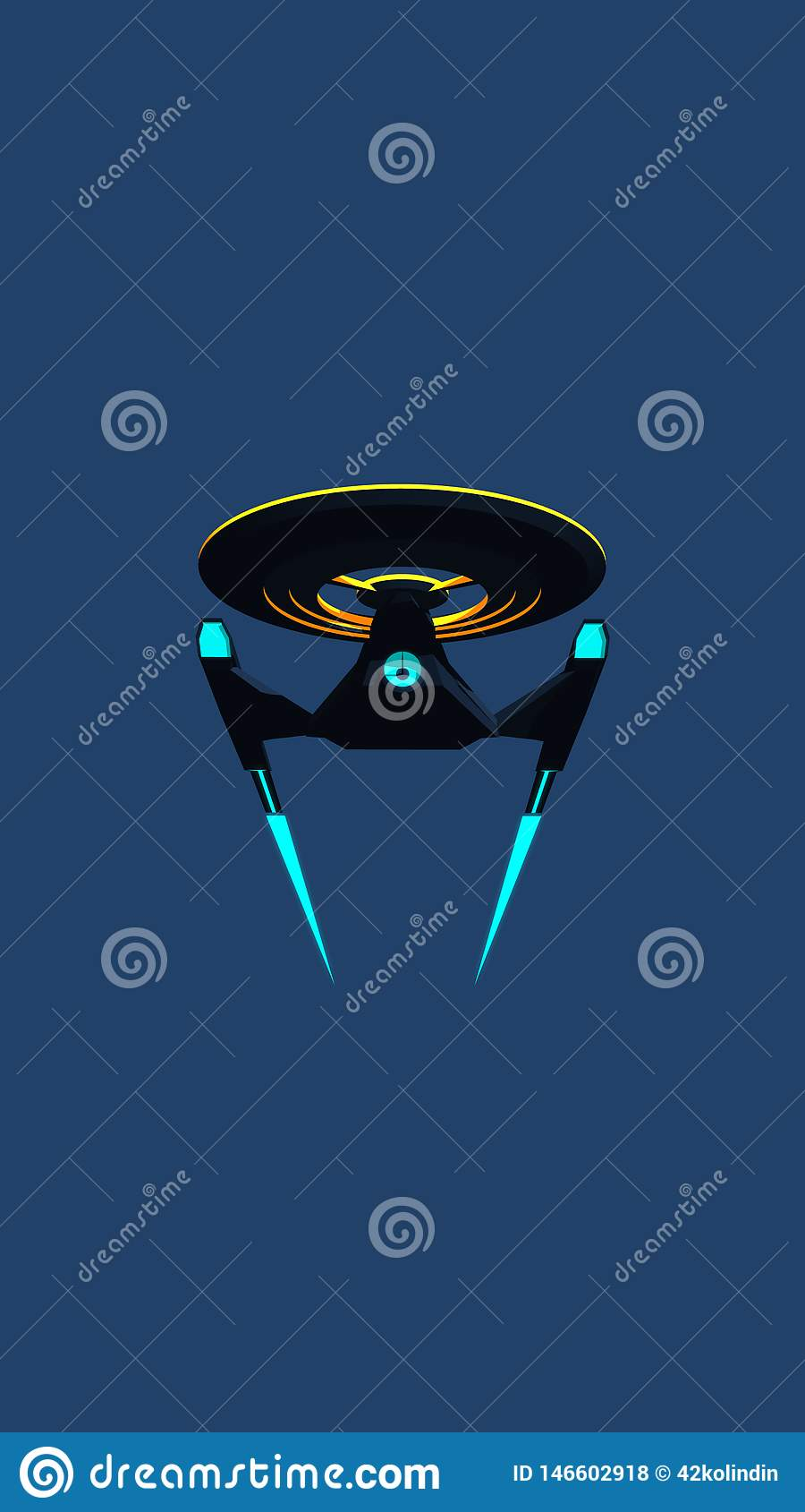 Dzwoni Wallpaprer nauka Powieściowy wizerunek głębokiej przestrzeni starship na błękitnym tle