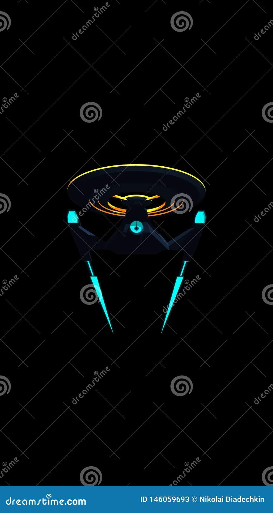 Dzwoni Wallpaprer nauka Powieściowy wizerunek głębokiej przestrzeni starship na czarnym tle