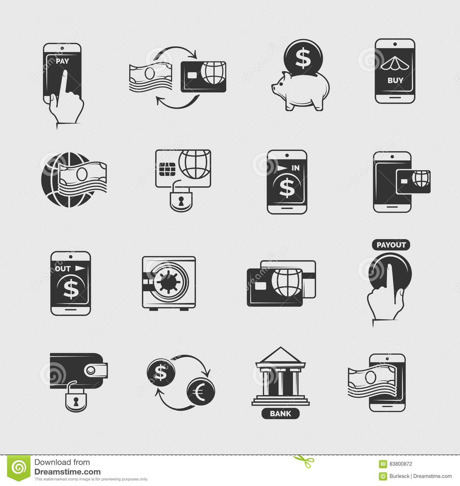 Dzwoni zapłatę, mobilna internet bankowość, elektroniczne przelewu pieniędzy wektoru ikony