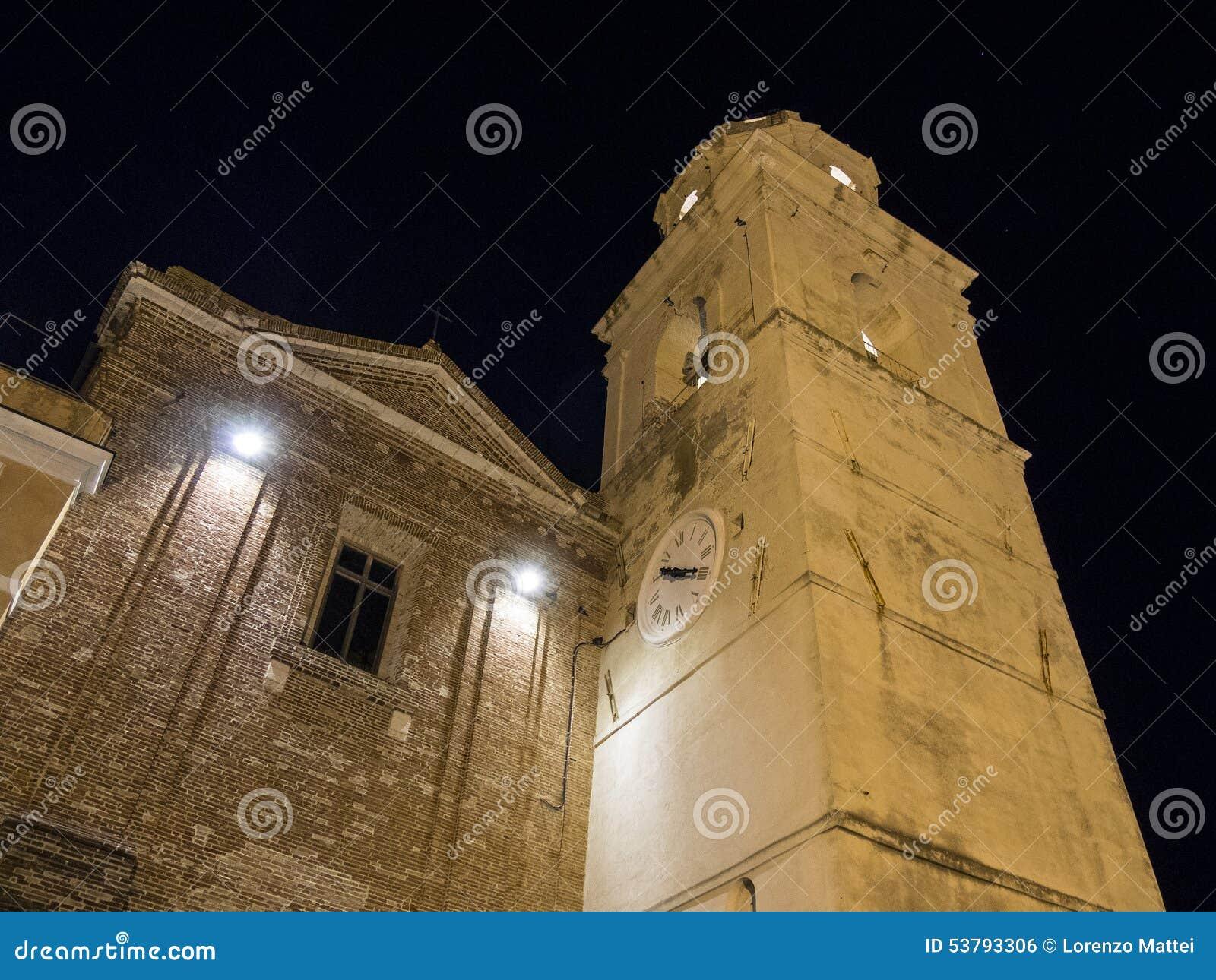 Dzwonkowy miasteczko stary miasteczko Sirolo, Conero, Marche, Włochy