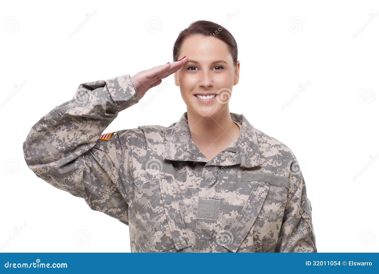 Żeński Amerykańskiego żołnierza salutować