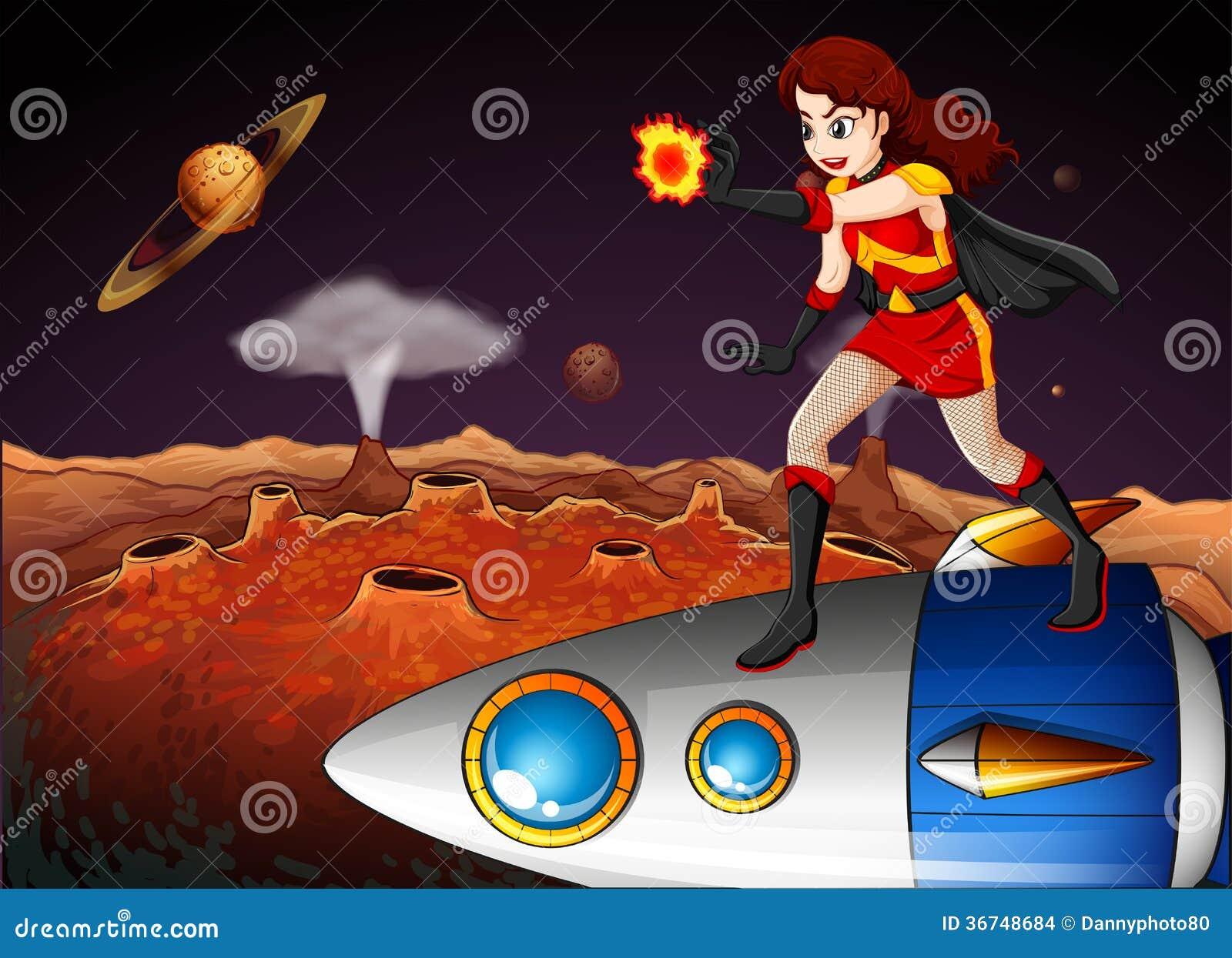 Żeński bohater przy galaxy pozycją nad statek kosmiczny