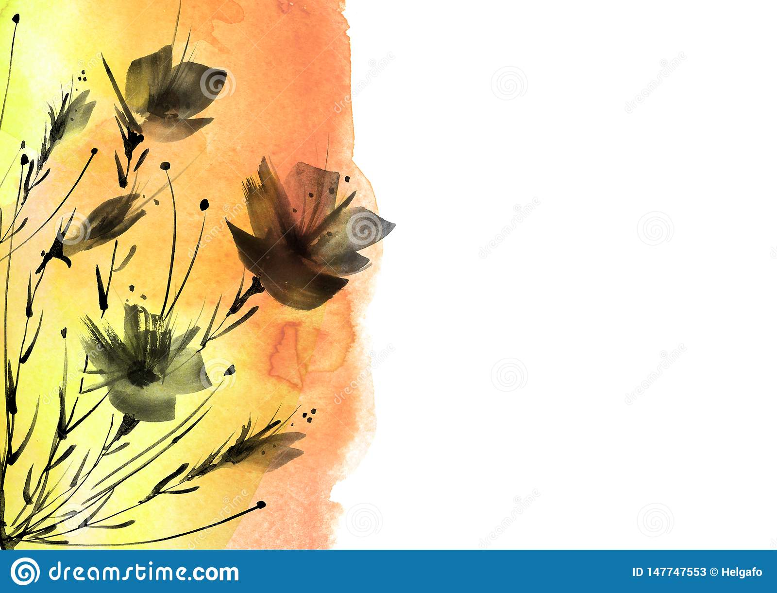 E Μια ανθοδέσμη των μαύρων λουλουδιών σκιαγραφιών των παπαρουνών, wildflowers σε ένα απομονωμένο λευκό υπόβαθρο Watercolor floral