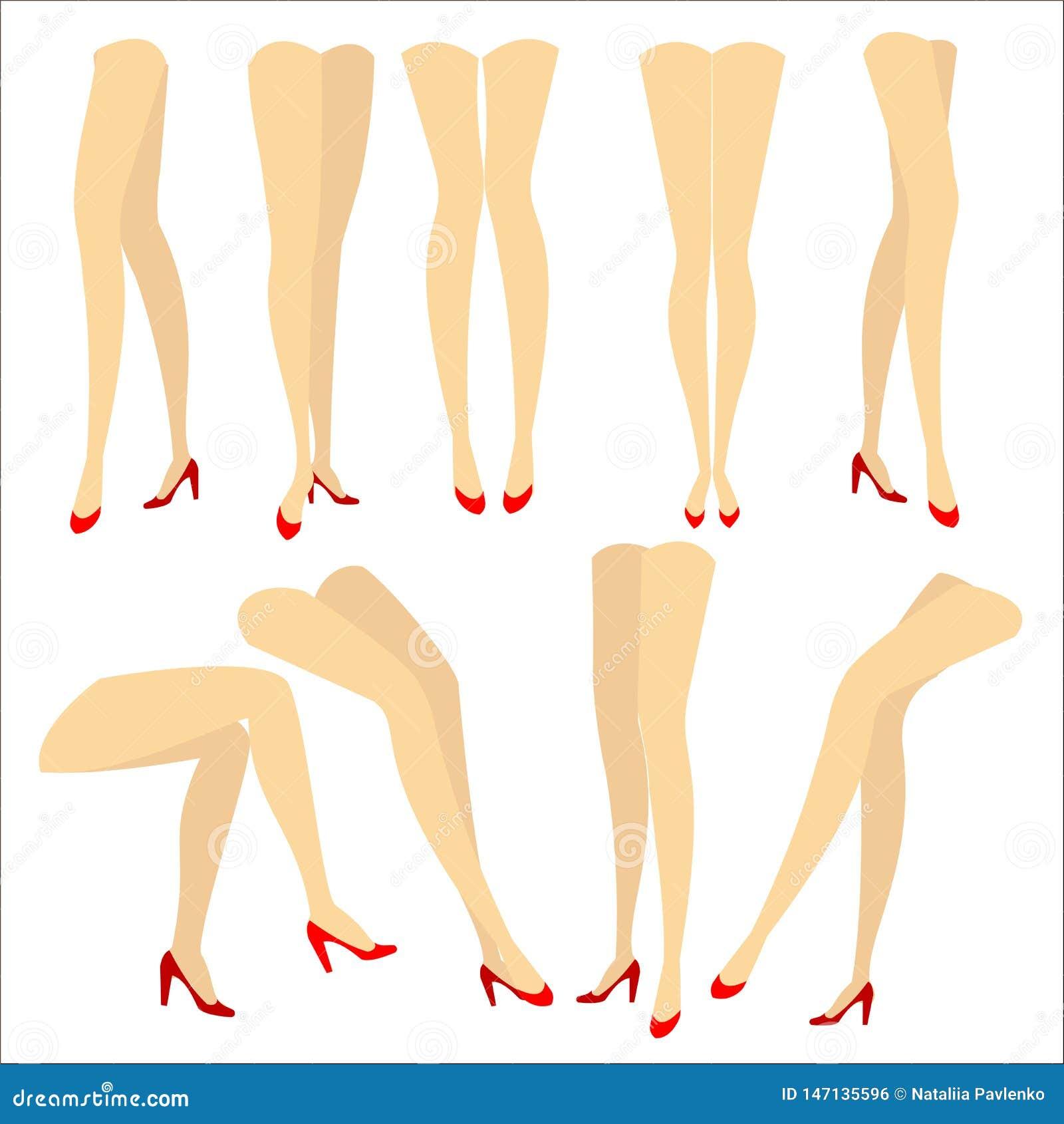 E Изображение с силуэтами худеньких красивых женских ног в красных высоко-накрененных ботинках Различные позиции ног когда