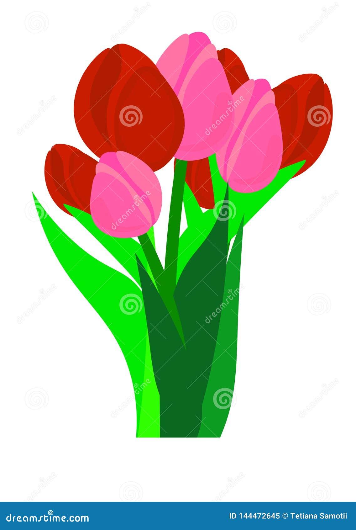 E поздравительная открытка на Международный женский день Букет бумажных отрезанных тюльпанов и narcissus цветков весны на темном
