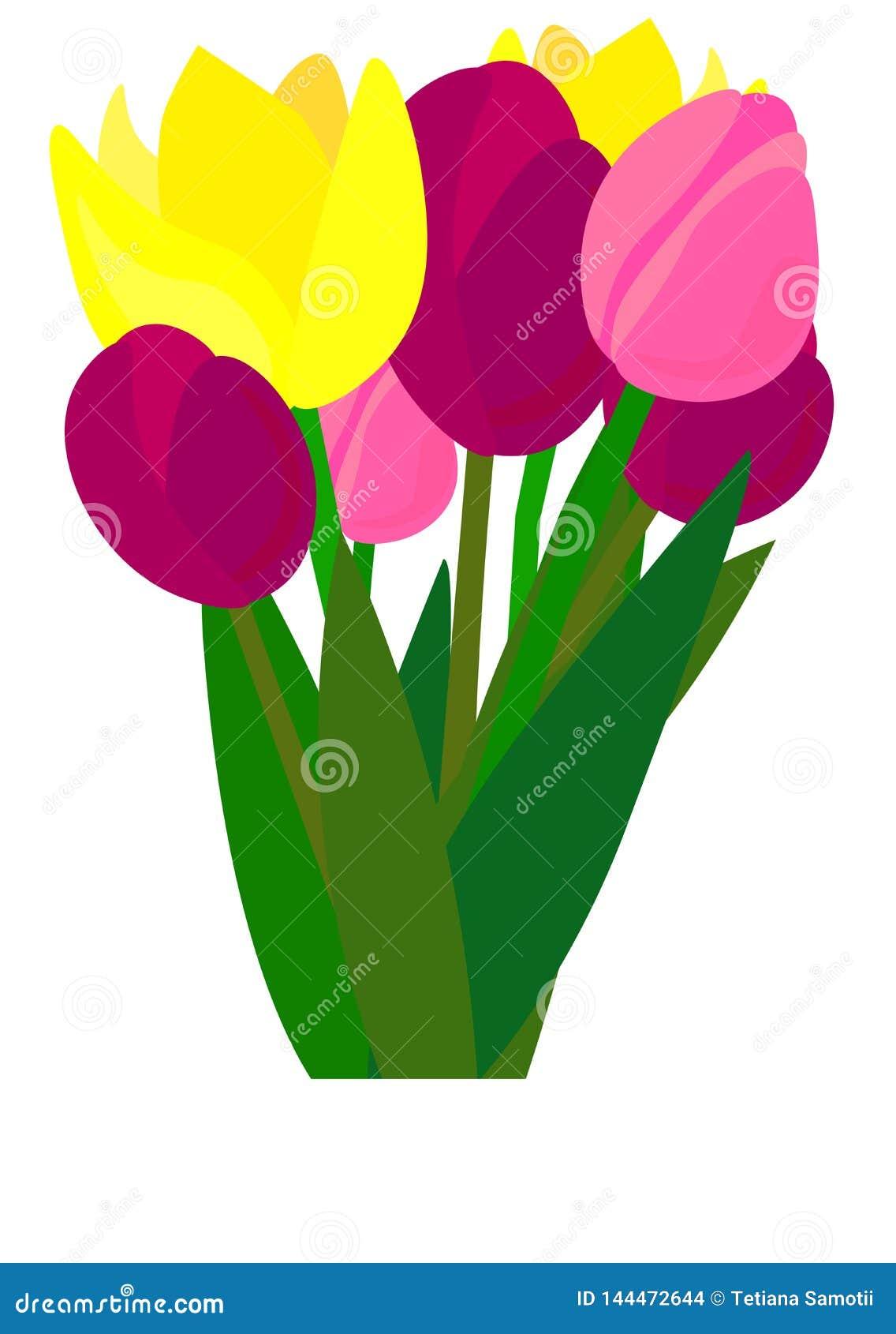 E Тюльпан r r Реалистические цветки Букет