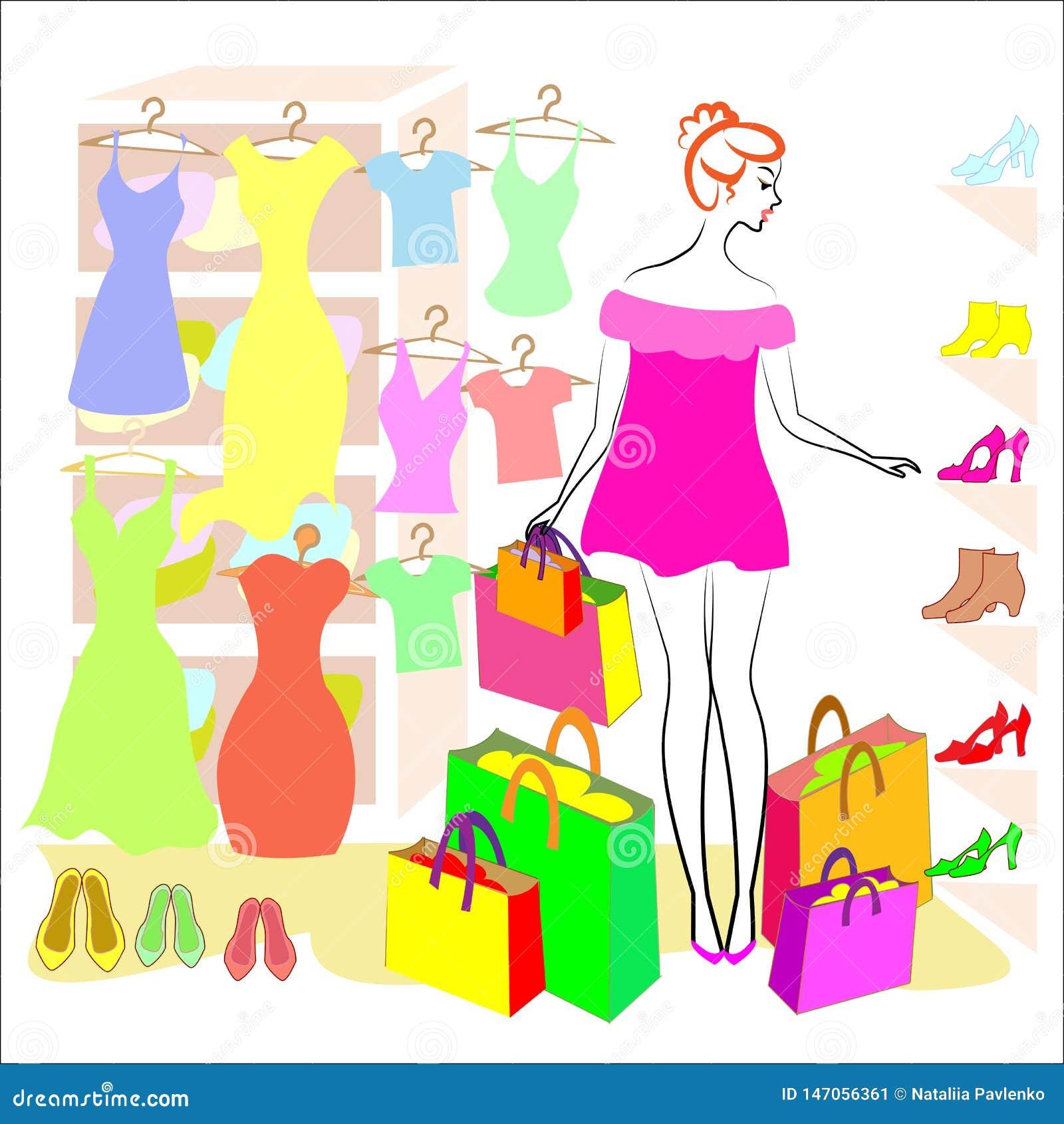 E 女孩参与购物 在商店他买衣裳和鞋子,礼服,T恤杉,鞋子起动