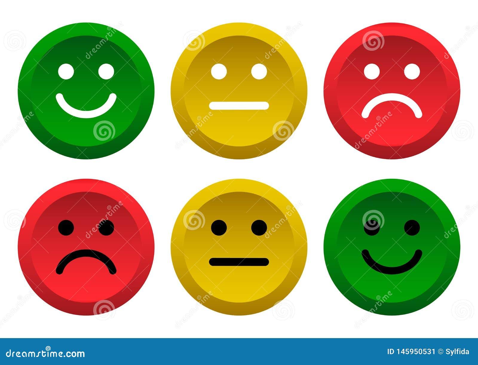 E 消极绿色,黄色,红色面带笑容意思号的象正面,中立和 r