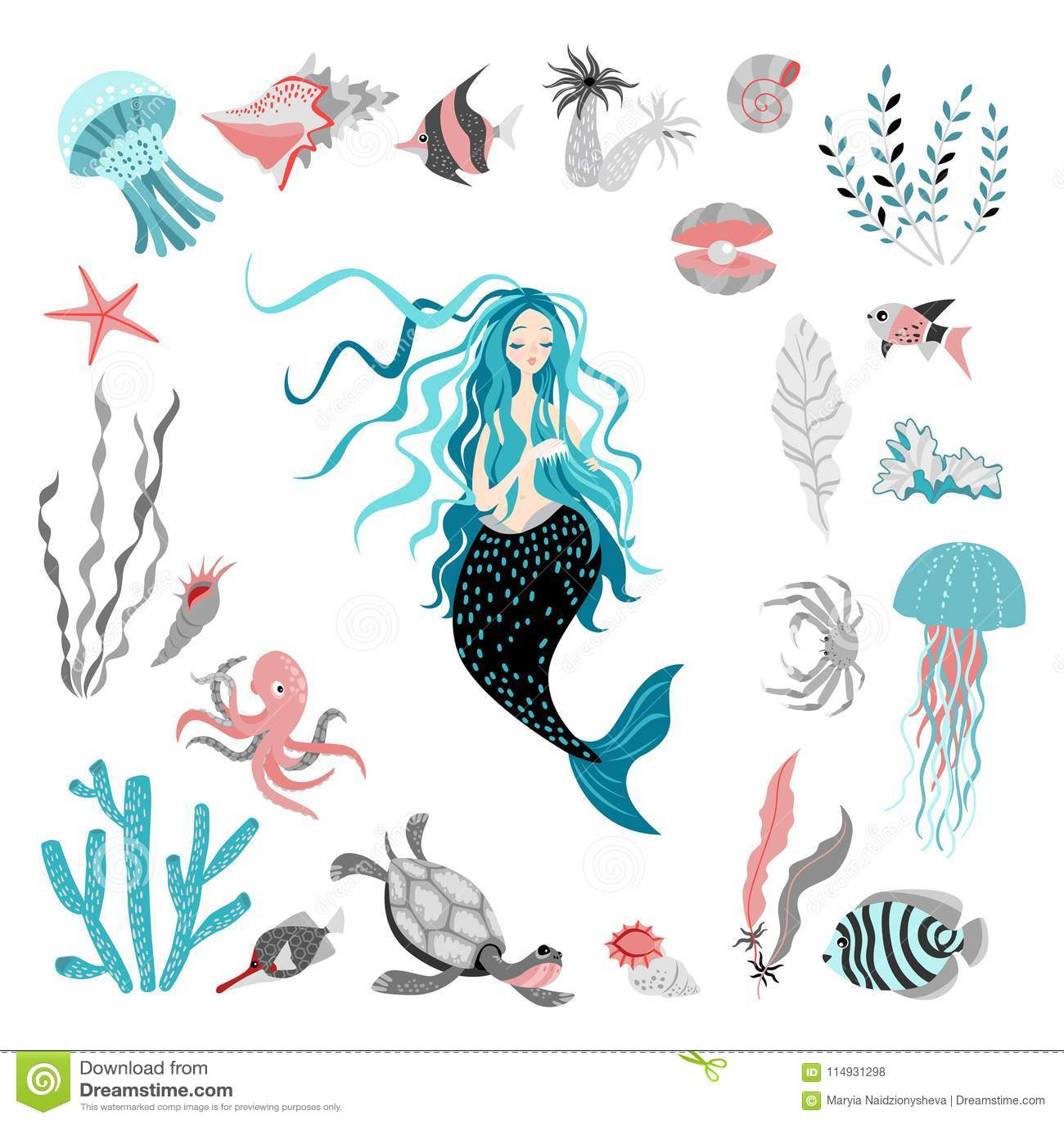 E 童话字符 泡影复制鱼例证生活海运海草空间文本向量