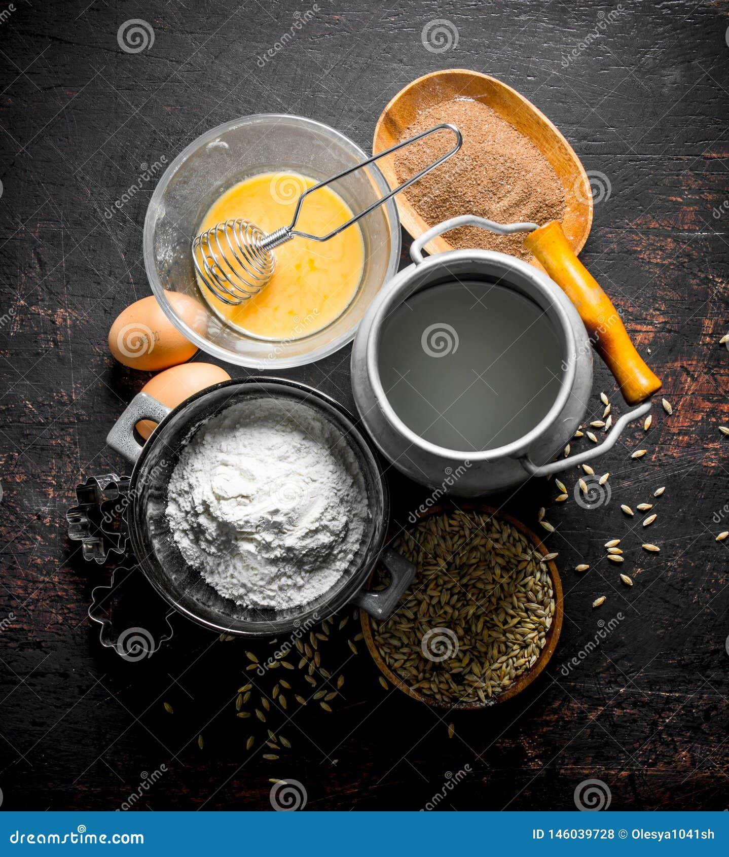 E 面粉用牛奶、可可粉和五谷