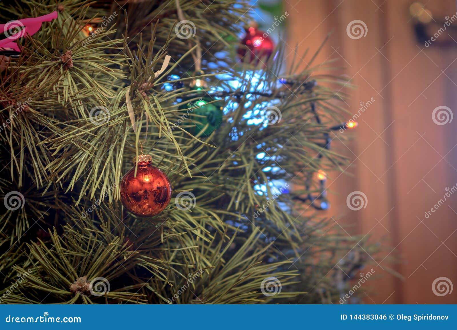 在绿色圣诞树的红色圣诞节球
