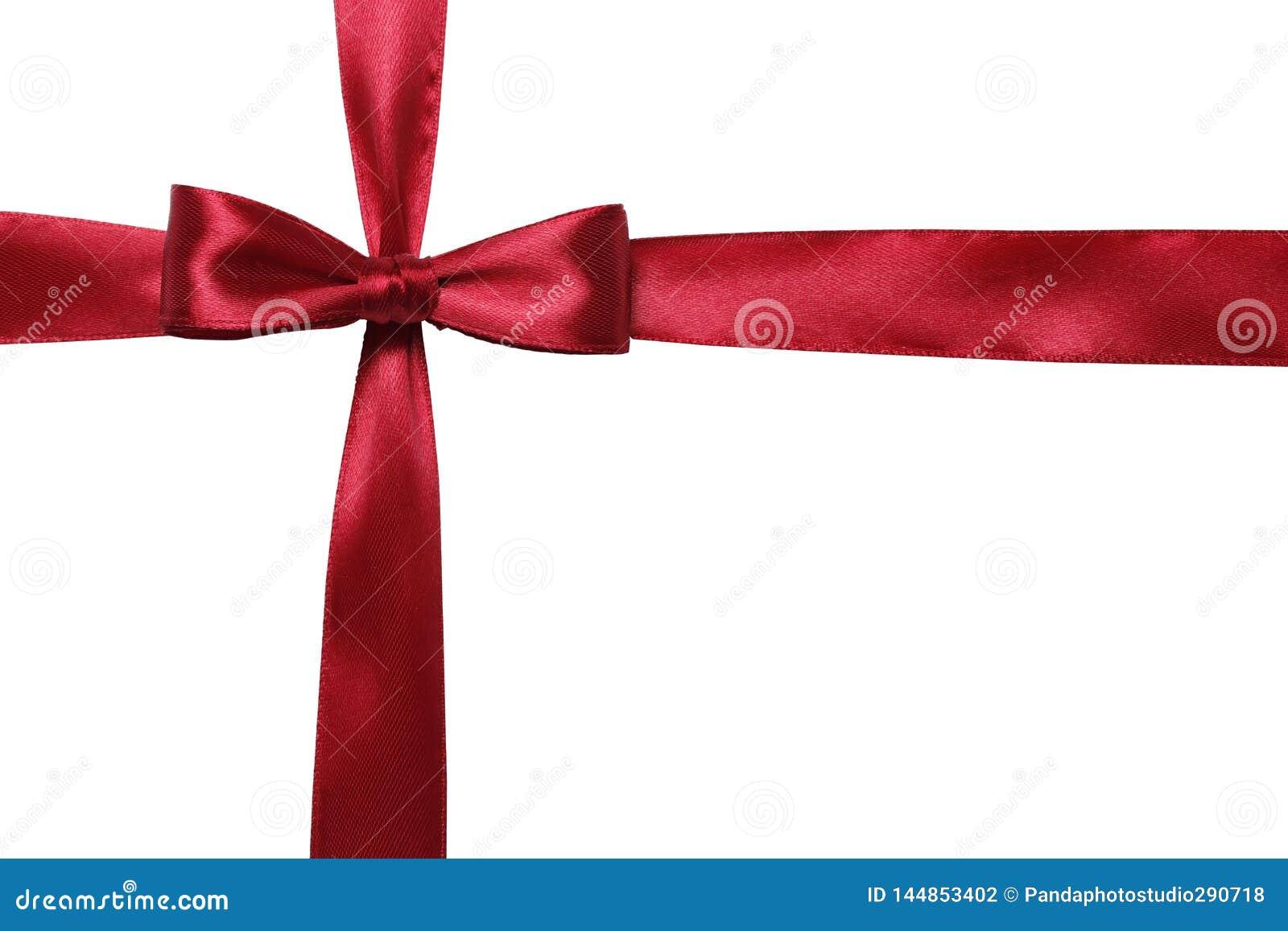 红色在白色背景隔绝的弓和丝带