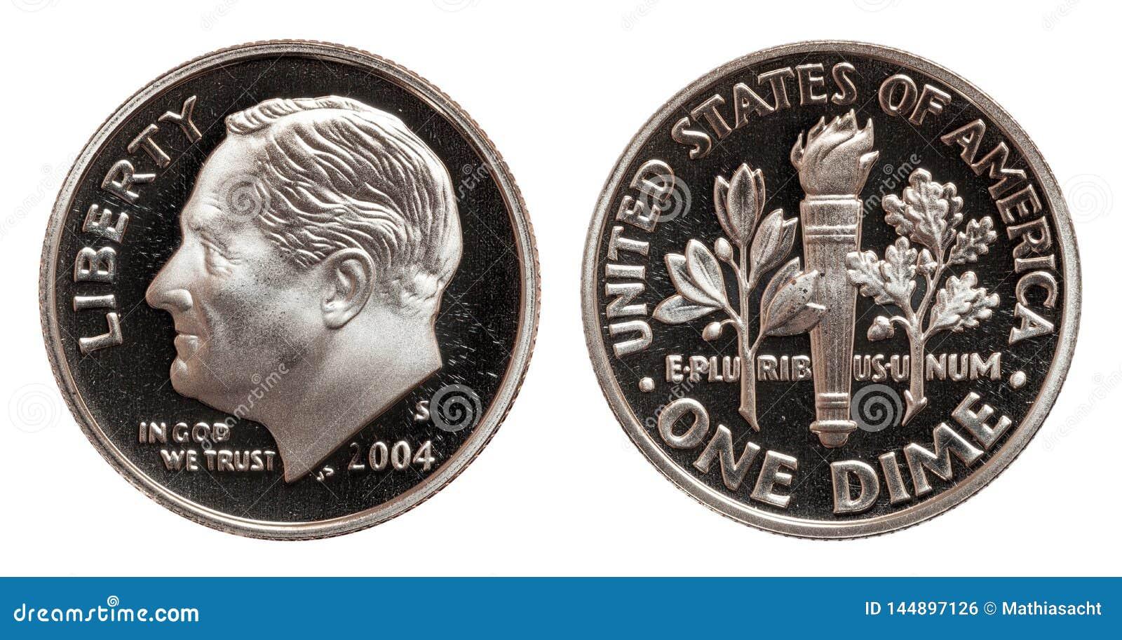 Американская одна монетка монеты в 10 центов изолированная на белой предпосылке