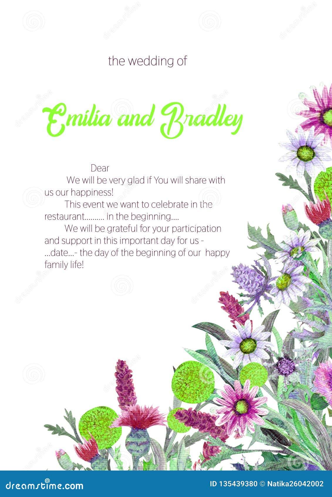 E akwarela kwiatu przygotowania Kartka z pozdrowieniami szablonu projekt zaproszenie