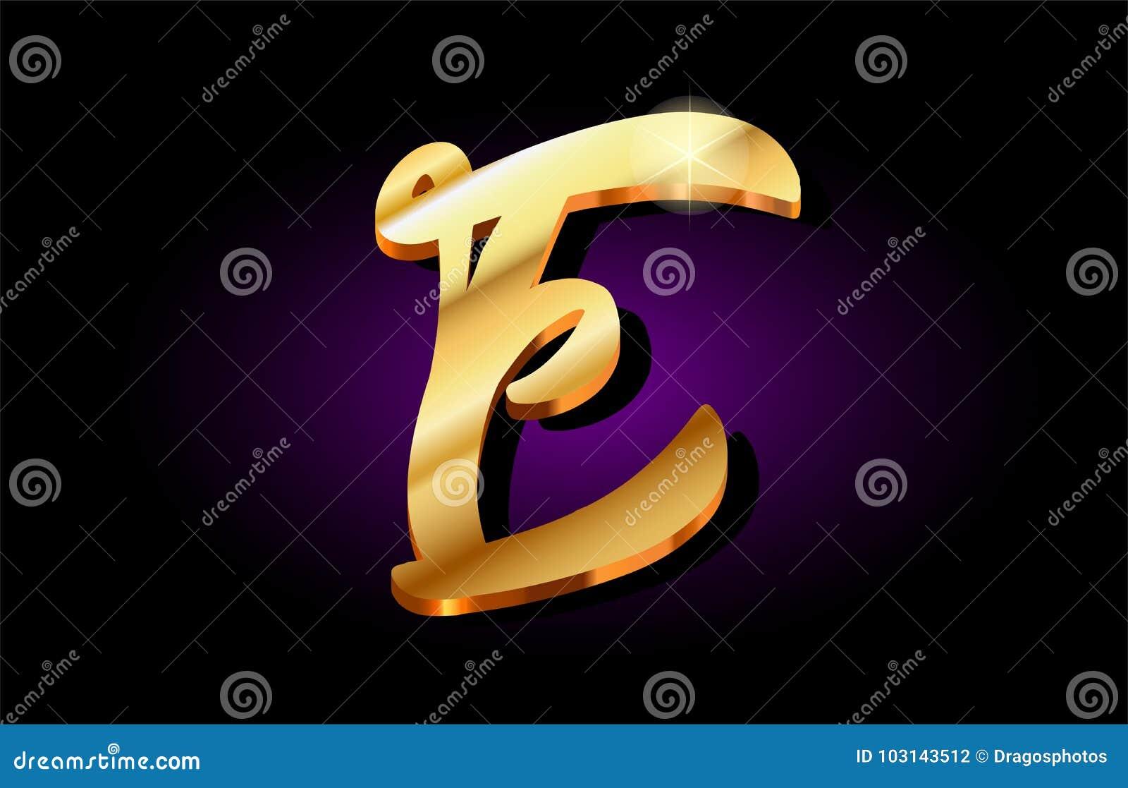 E Alphabet Letter Golden 3d Logo Icon Design Stock Illustration