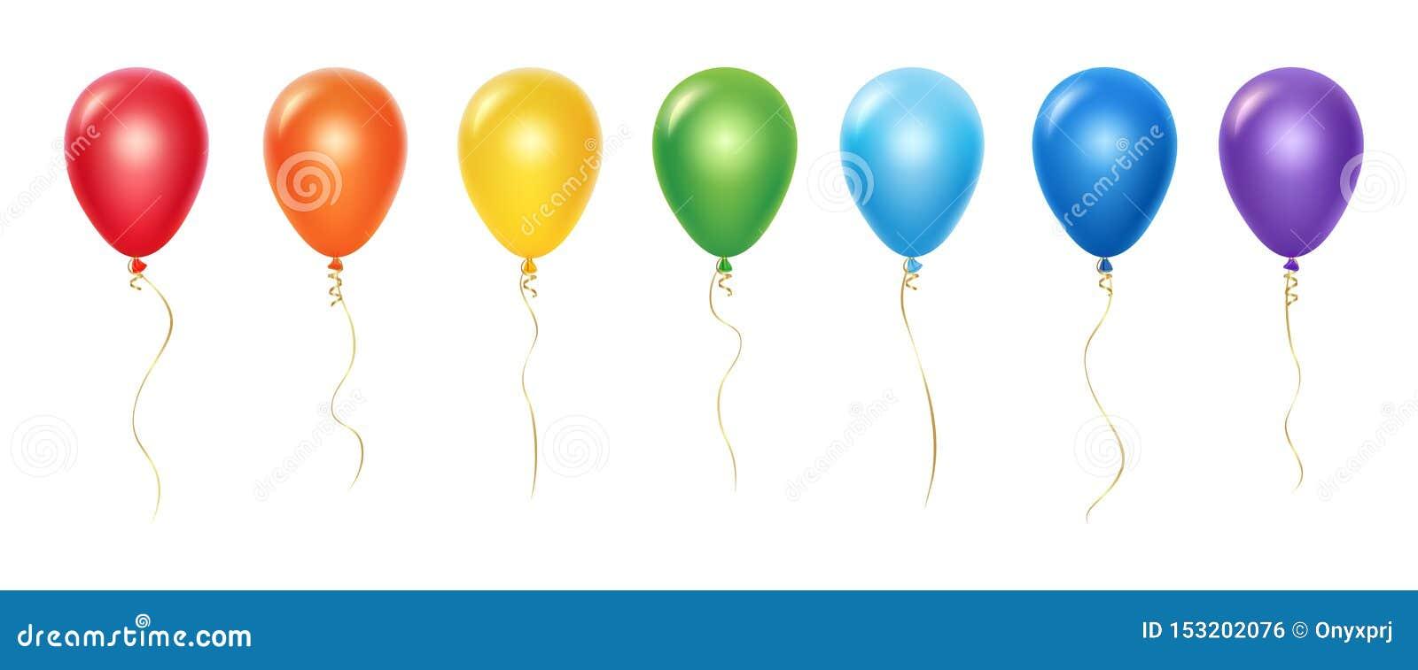 E Ballone mit den B?ndern lokalisiert auf wei?em Hintergrund