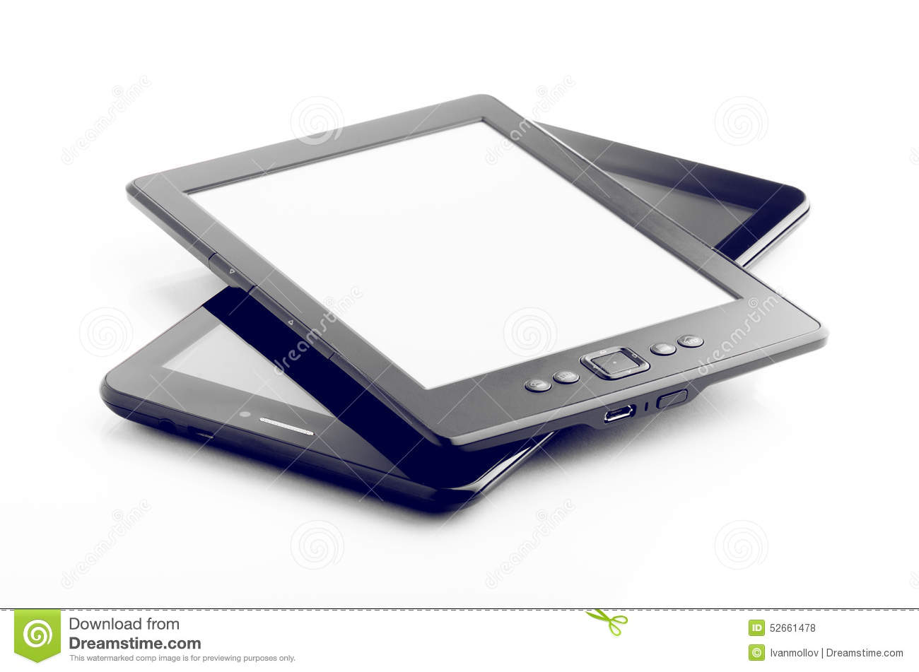 E-Buch-Leser And Tablet Isolated auf Weiß