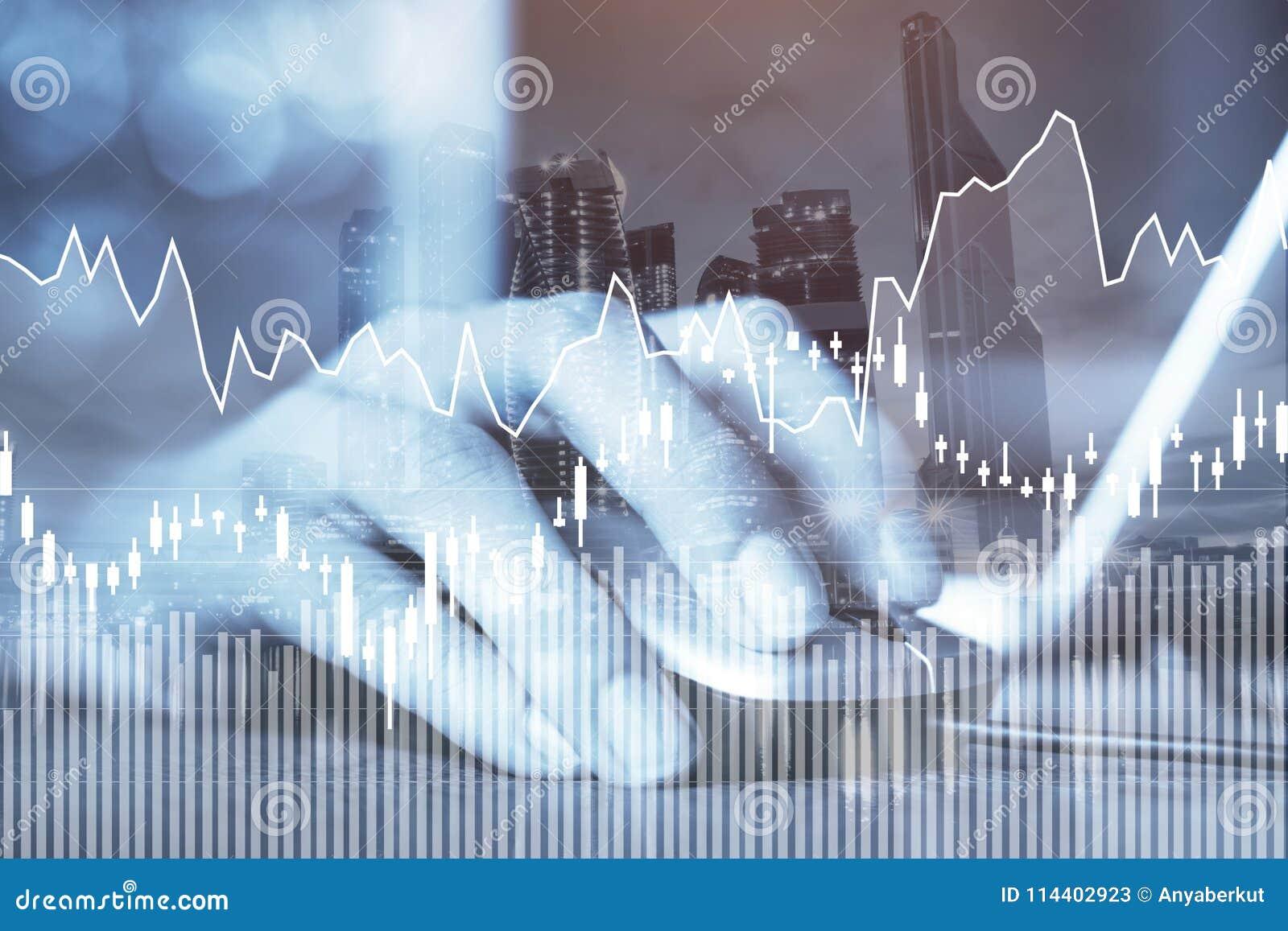 E-business of forex concept, bedrijfs online, financiële grafieken