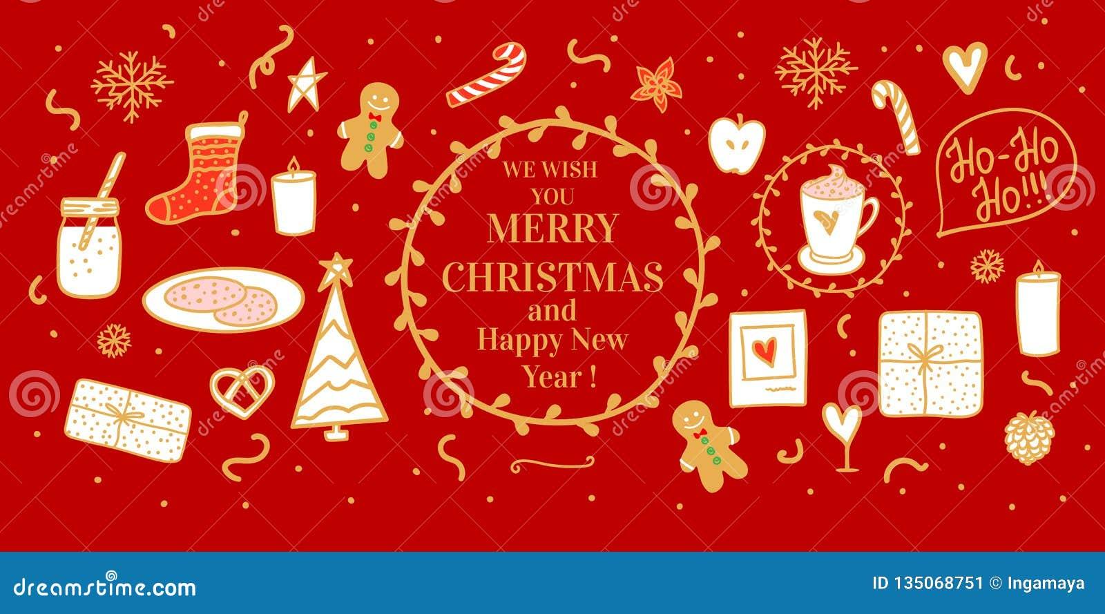 E Cacau e cookies do leite para Santa Humor do Feliz Natal do conceito da ilustração do grupo do vetor