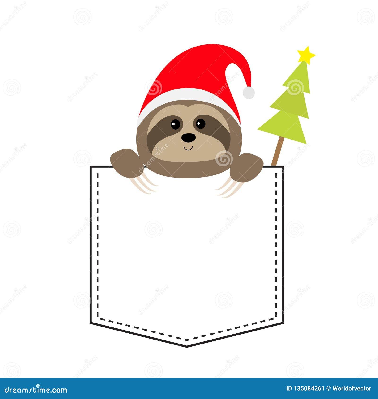 E Chapeau De Santa De Noël Arbre De Sapin Animaux De Dessin