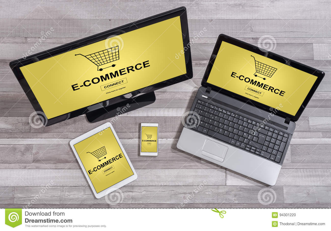 E-commerce concept on different devices
