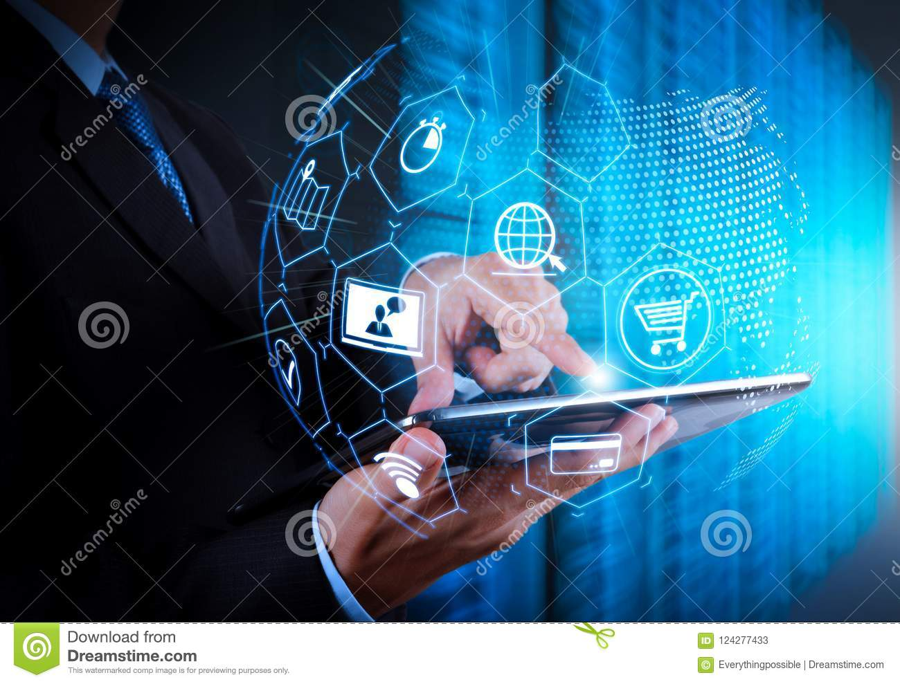 E-commerce concept with VR digital interface with icons of shopping cart and delivery truck and credit card with symbol of online