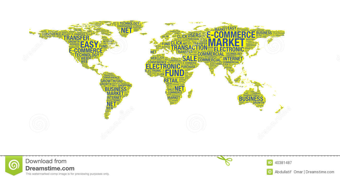 E commerce concept on world map stock illustration illustration of e commerce concept on world map gumiabroncs Choice Image