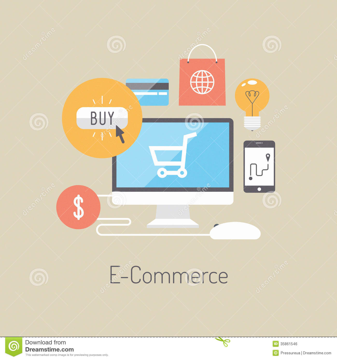 E Commerce Flat Illustration Concept Stock Vector